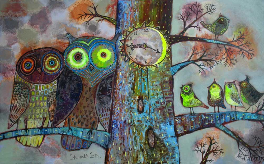 Larks and Owls, 2013, Oil on Canvas, 24 x 35 in (60 x 90 cm)