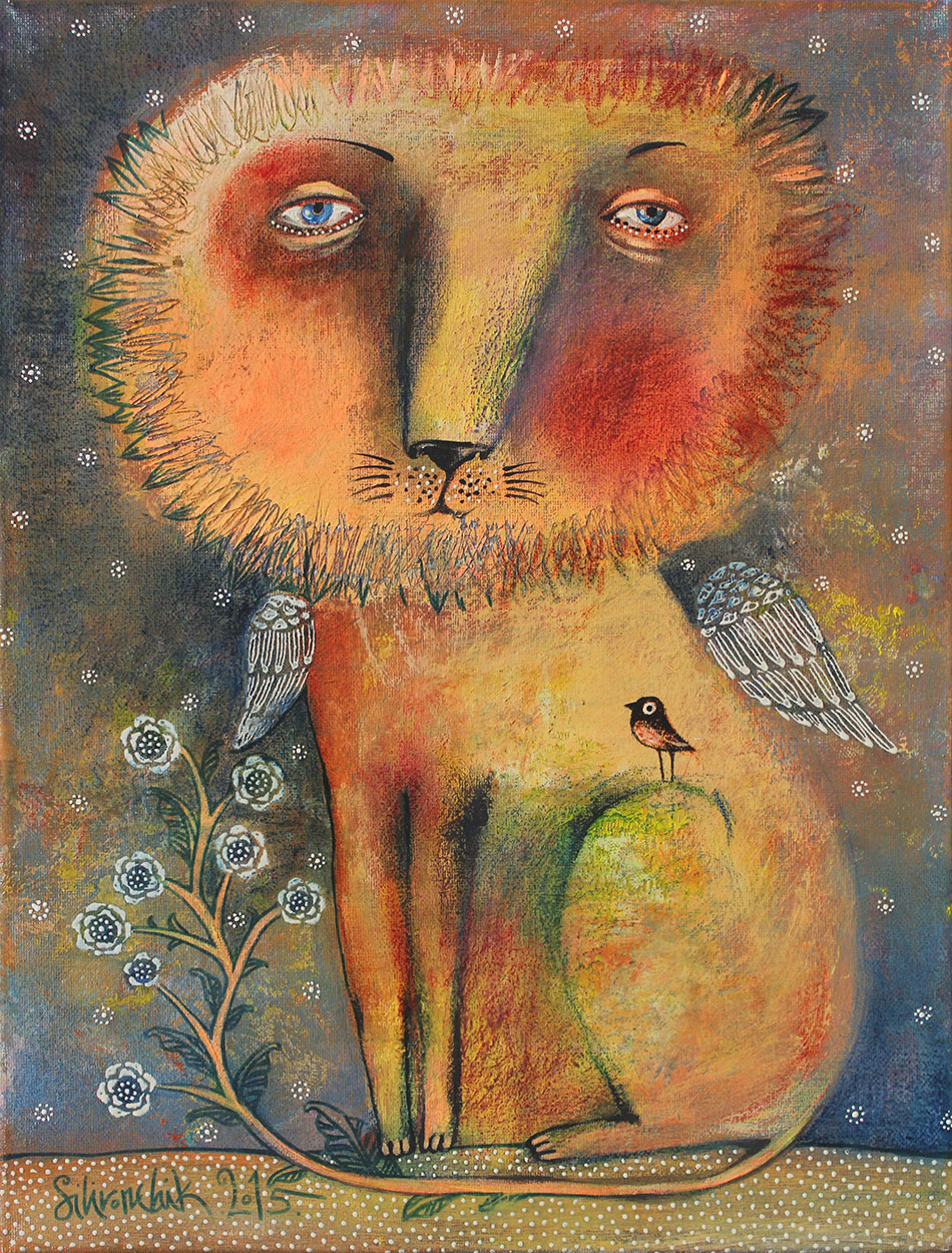 Sad Lion, 2015, Acrylic on Canvas, 16 x 12 in (40 x 30 cm)