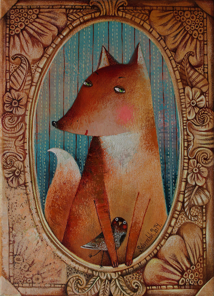 Fox, 2014, Oil on Canvas, 16 x 12 in (40 x 30 cm)