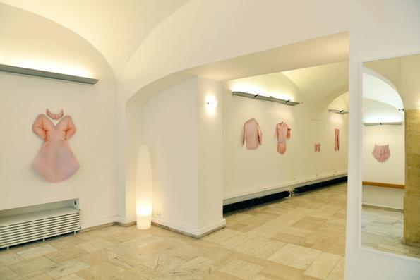 BoutiqueS Antishop, 2014, installation, C-prints on softshell and author's technique, Institut Francais de Slovaquie, Bratislava, Slovakia