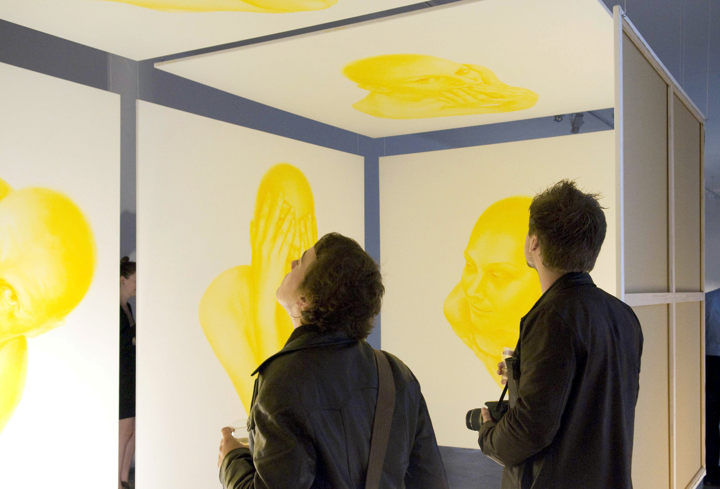 Yellow Space, 2011, (detail), spatial installation of 7 paintings, 220 x 220 x 430 cm, Museum of Art, Zilina, Slovakia