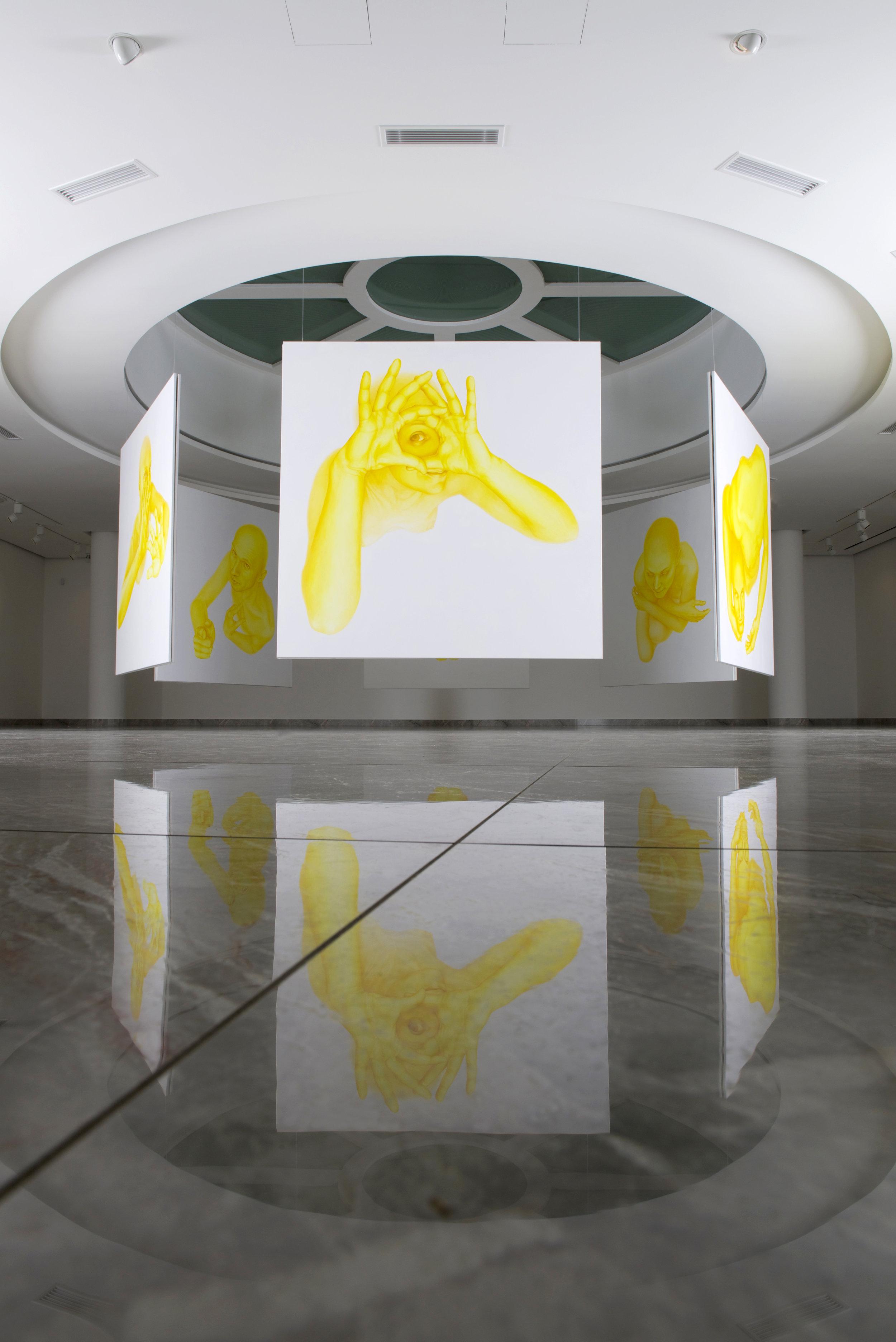 Rotunda, 2016, spatial installation of 12 paintings, each 190 x 190 cm, Nedbalka Gallery, Bratislava, Slovakia