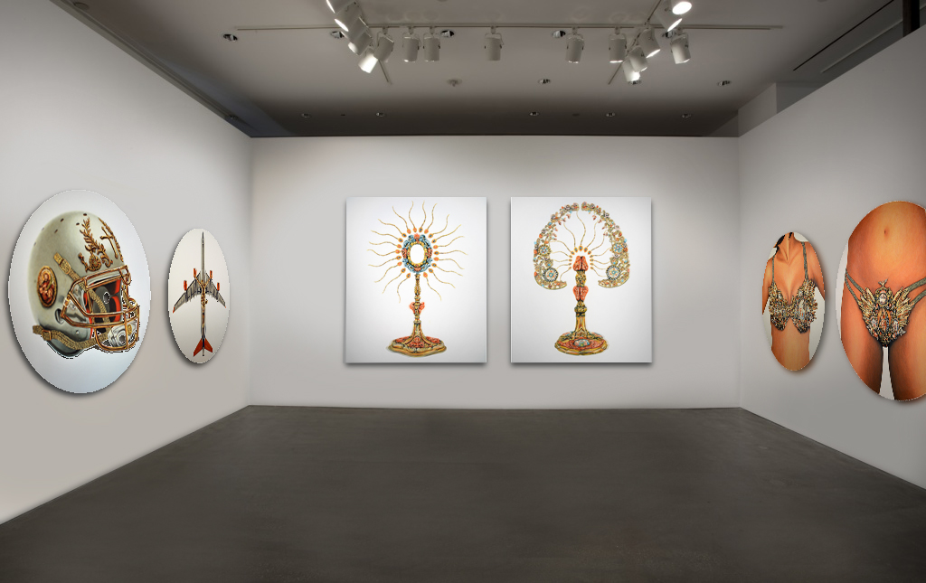 Monstrance I, II, IHS series, 2016, Oil on Canvas, 75 x 63 in (190 x 160 cm) each