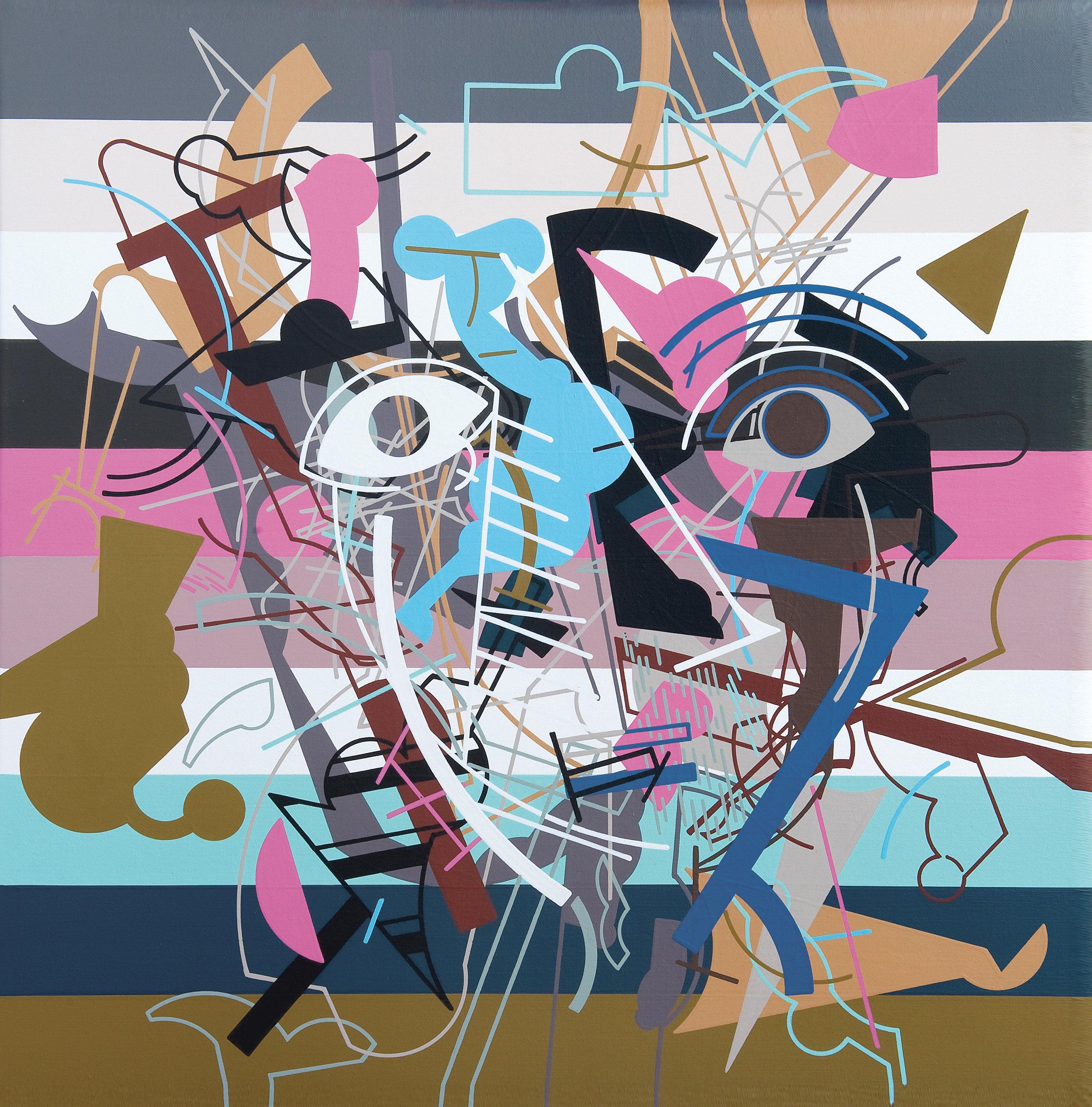 Head 1, 2014, Acrylic on Canvas, 25.6 x 25.6 in (65 x 65 cm)