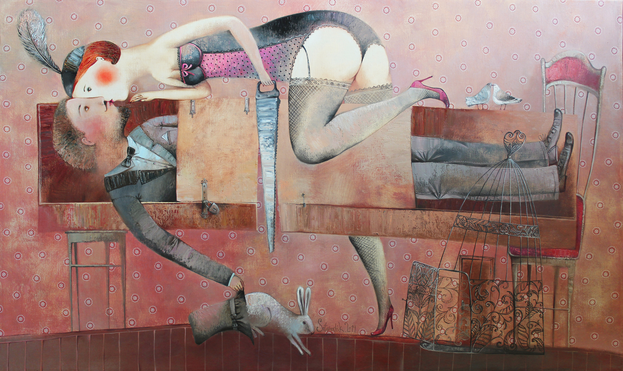 Anna Silivonchik, Illusion of Love, 2014, Oil on Canvas, 28 x 47 in (70 x 120cm)
