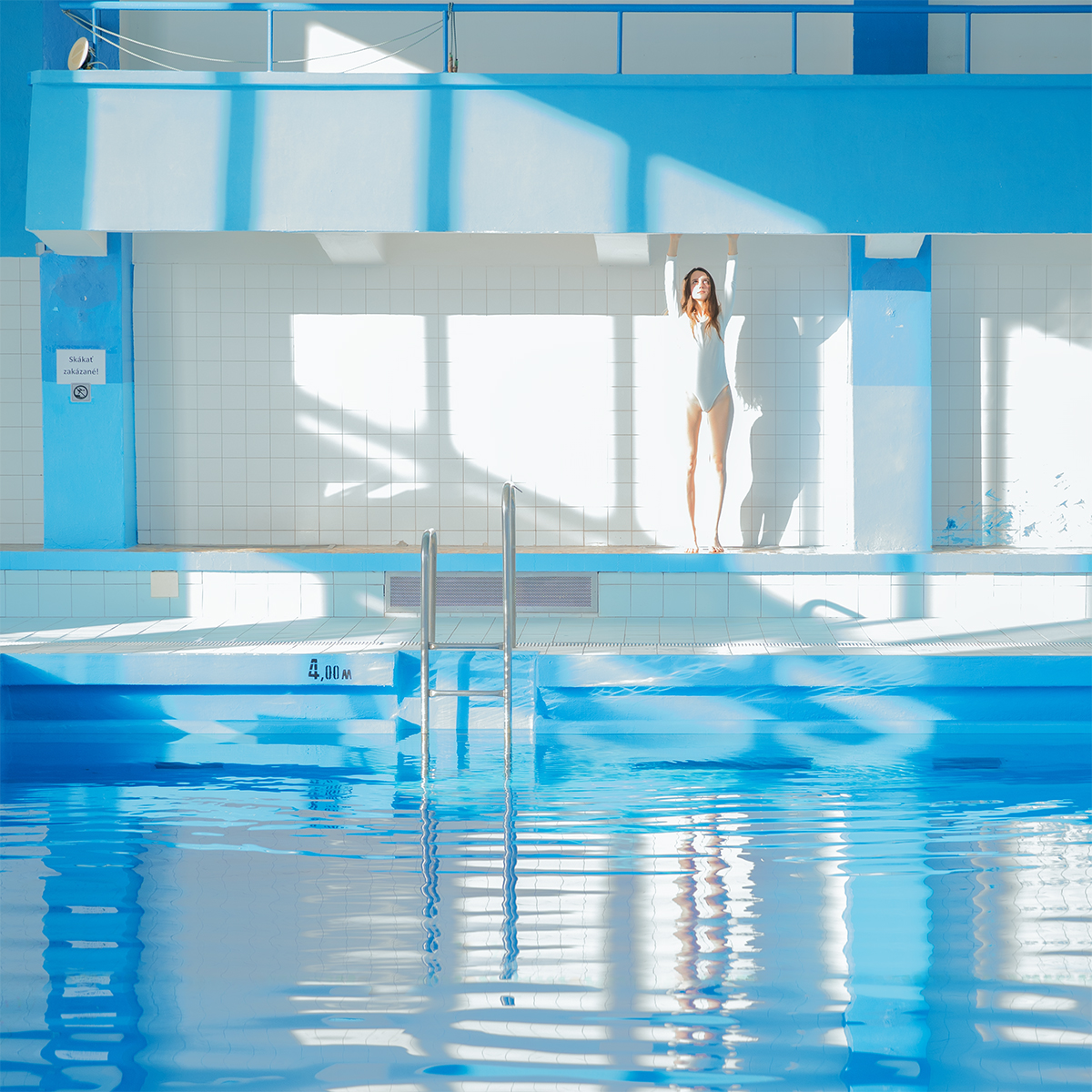 Maria Svarbova, Blue White Swimmer, Archival Pigment Print, 27 1/2 x 27 1/2 in (70 x 70 cm)