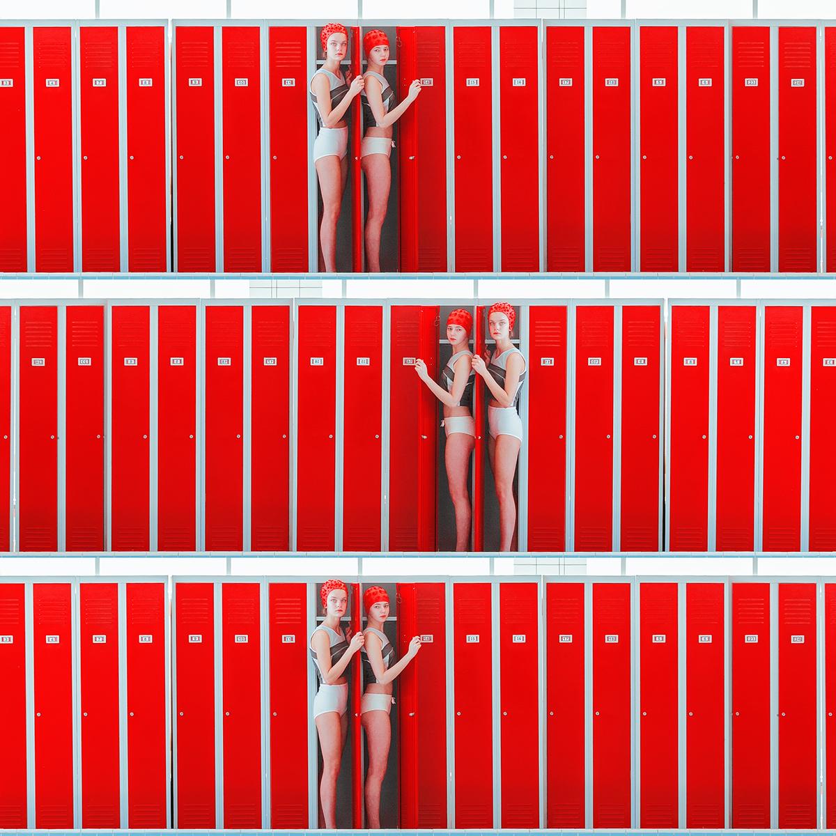 Maria Svarbova, Triple lockers, Archival Pigment Print, 27 1/2 x 27 1/2 in (70 x 70 cm)