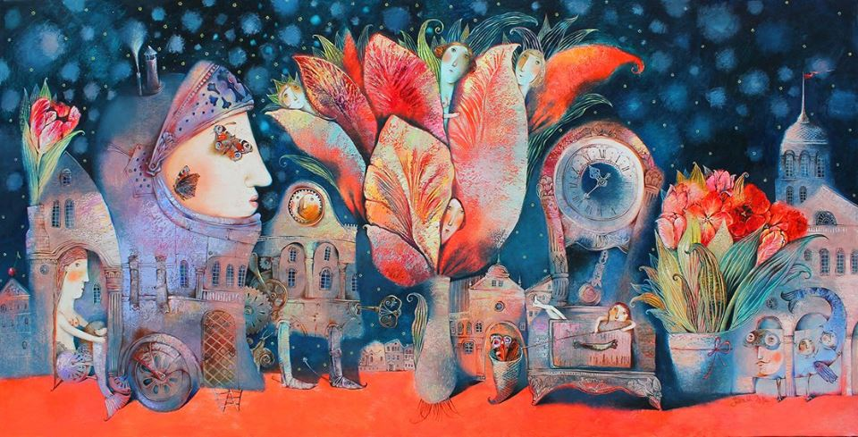 Anna Silivonchik, A Night in May, 2016, Oil on Canvas, 39 x 79 in (100 x 200cm)