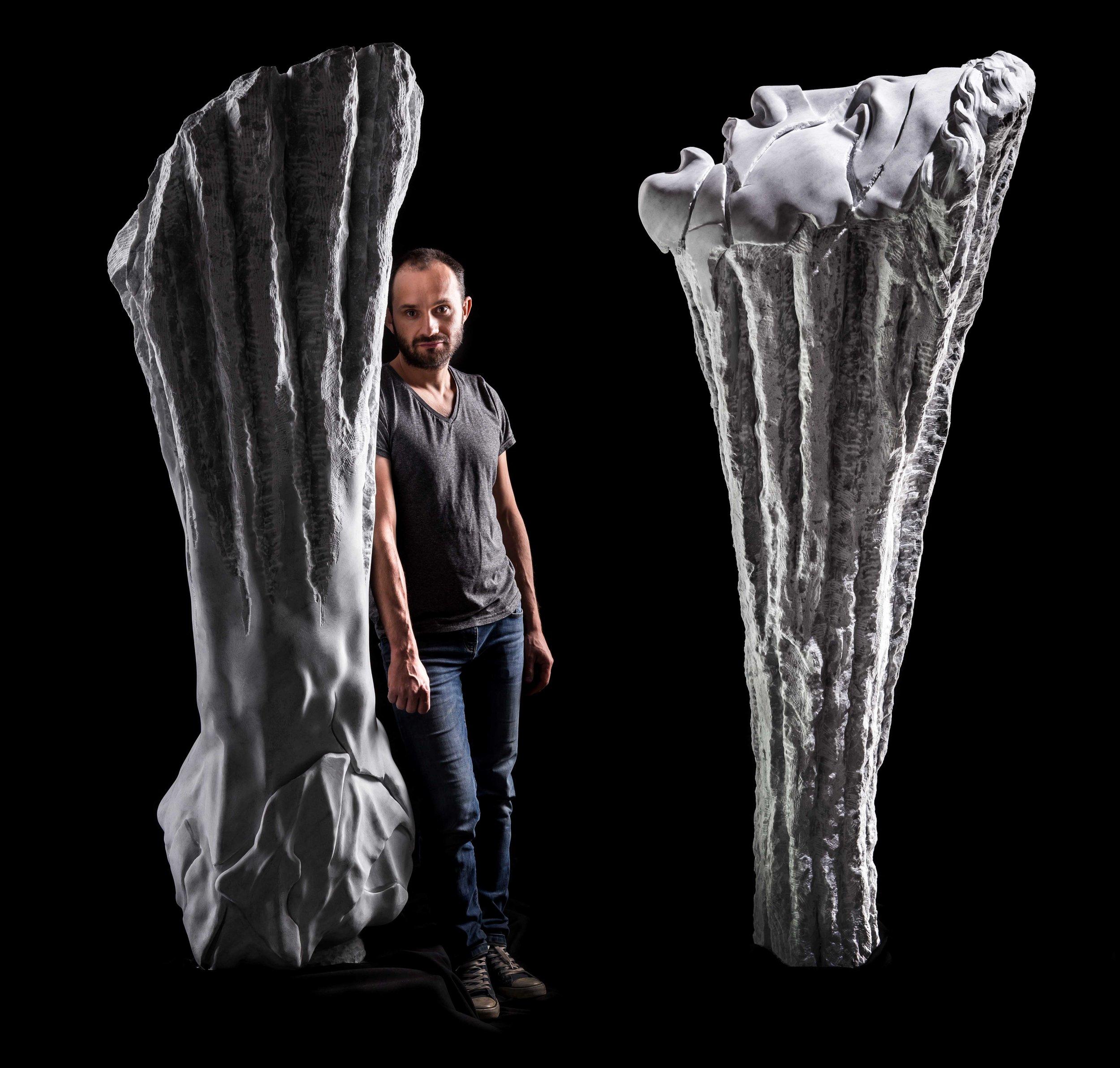 Diptych: Scream of the Earth & Self-Destructive, 2018, Carrara marble