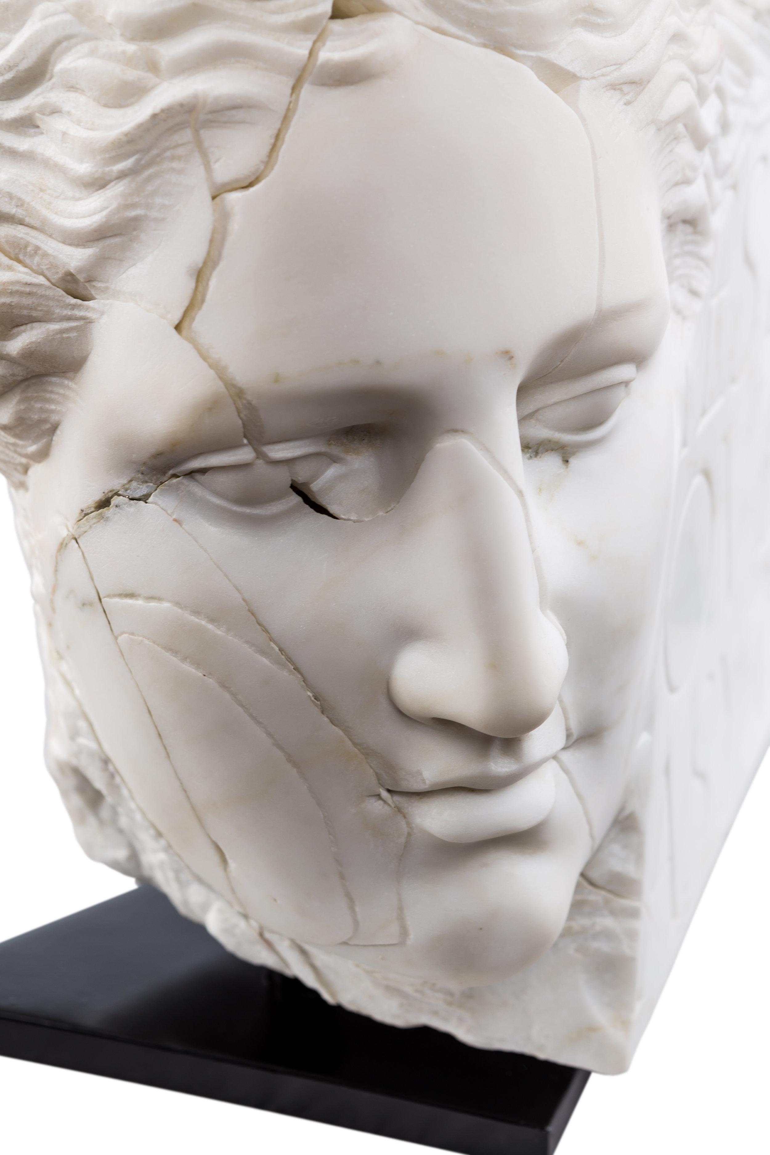 Yesterday, 2018, Carrara marble, 18 1/10 in x 14 1/5in x 9 1/10 in (46 x 36 x 23 cm)