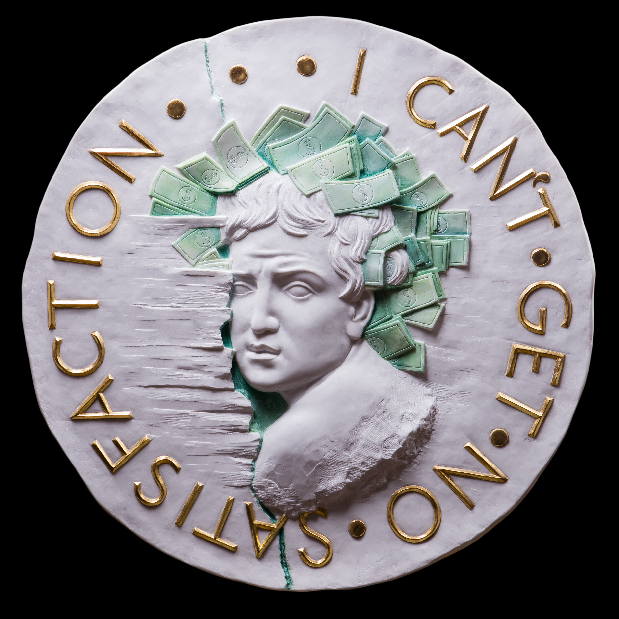 I Can't Get No Satisfaction, 2018, Marble (colored and gilded) 24K gold
