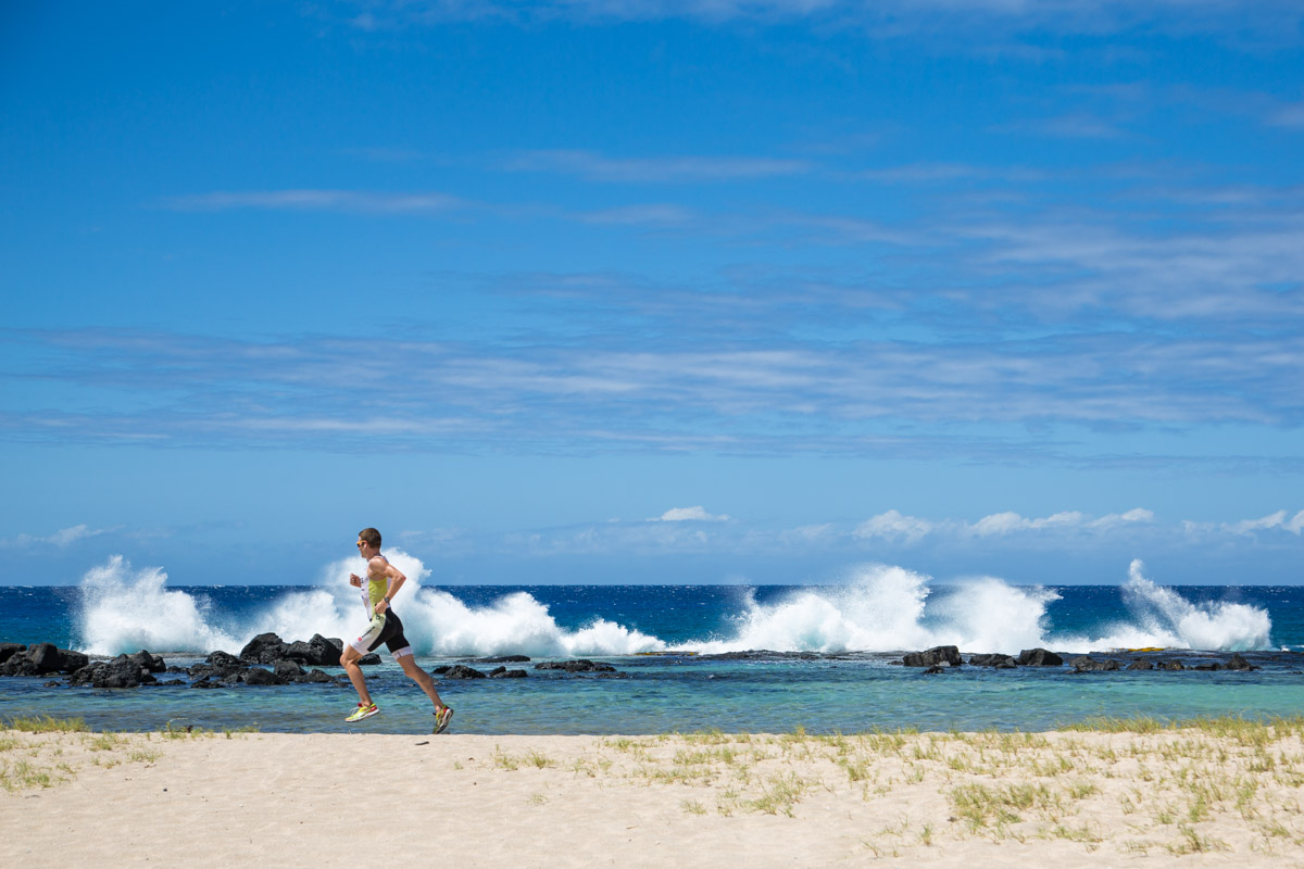 "Jeff Symonds running along the beach at ""The Energy Lab"" prior to his debut Ironman World Championships in Kona, Hawaii."