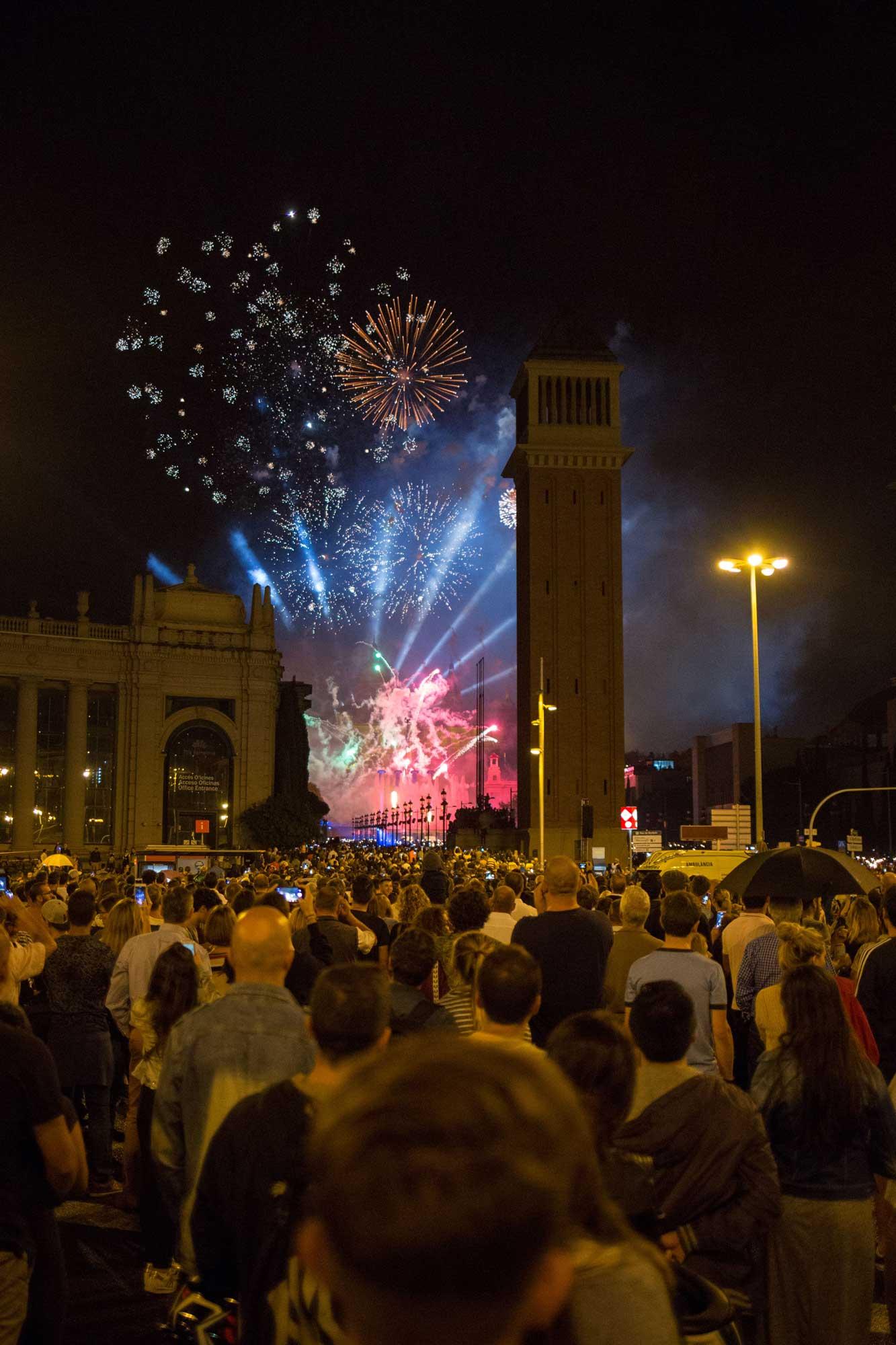 2016 — Fireworks at the Plaça Espanya during the Festival La Mercè