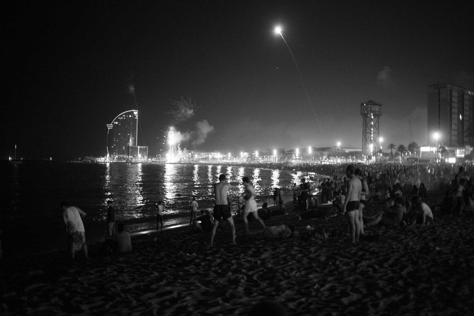 2014 —Barceloneta Beach around midnight on the summer solstice celebration of Sant Joan