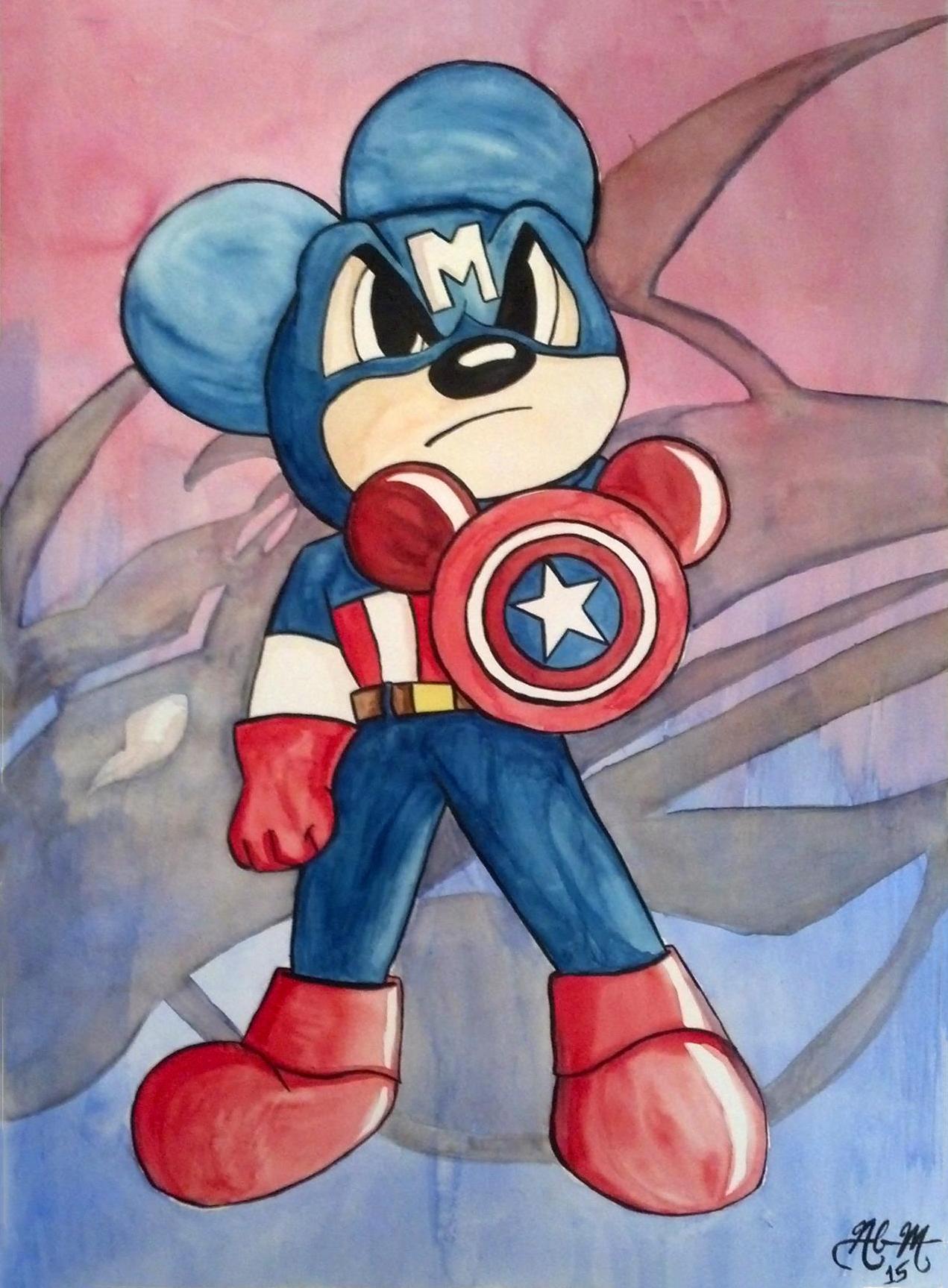 Traditional - Watercolor - Mickey Captain America.jpg