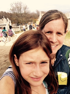 My daughter Lilly and I take a quick selfie on her school fieldtrip to Plymouth Plantation.