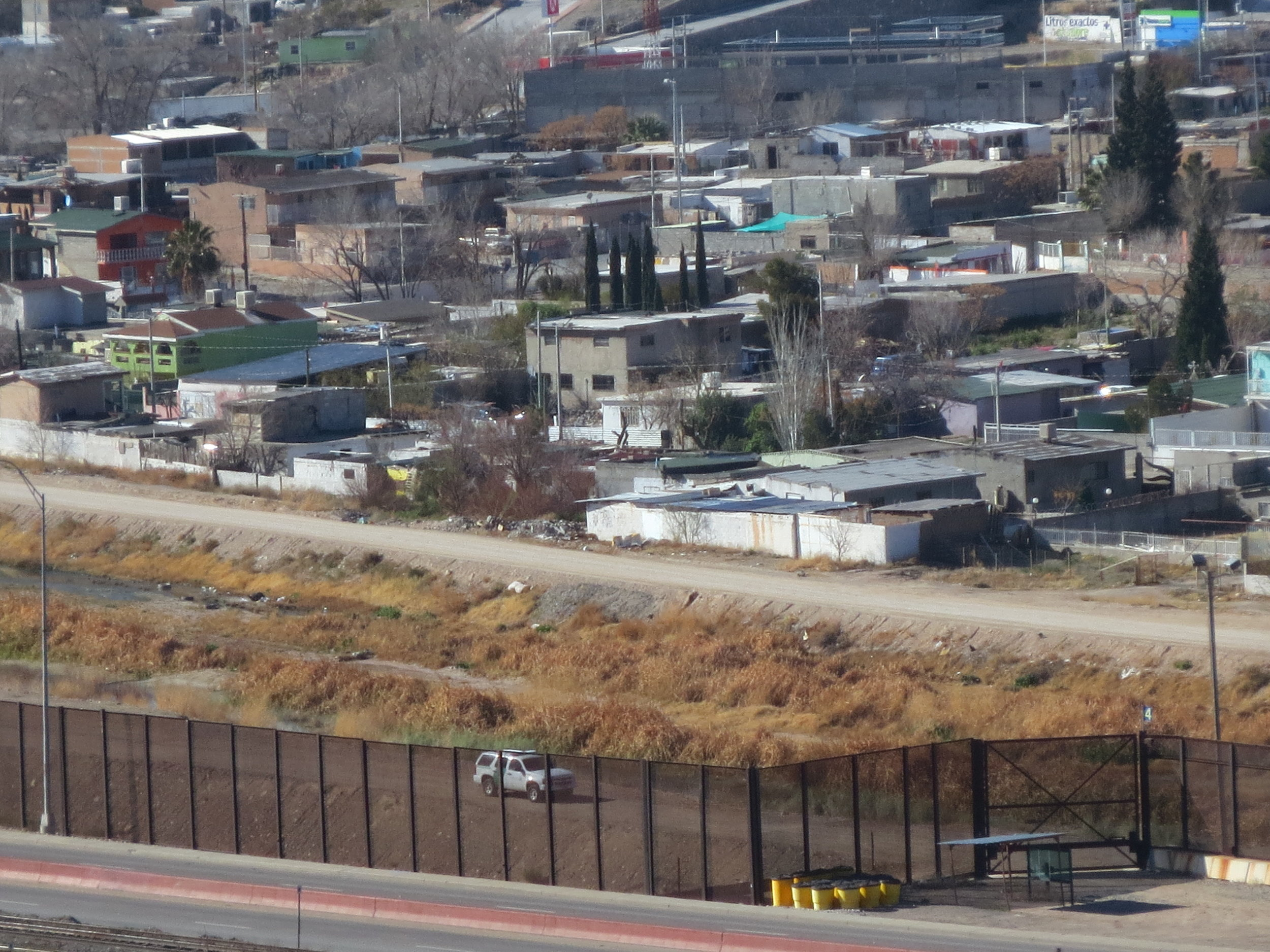 Photo by Oscar J Martinez.  View of border fence between El Paso and Cuidad Juárez