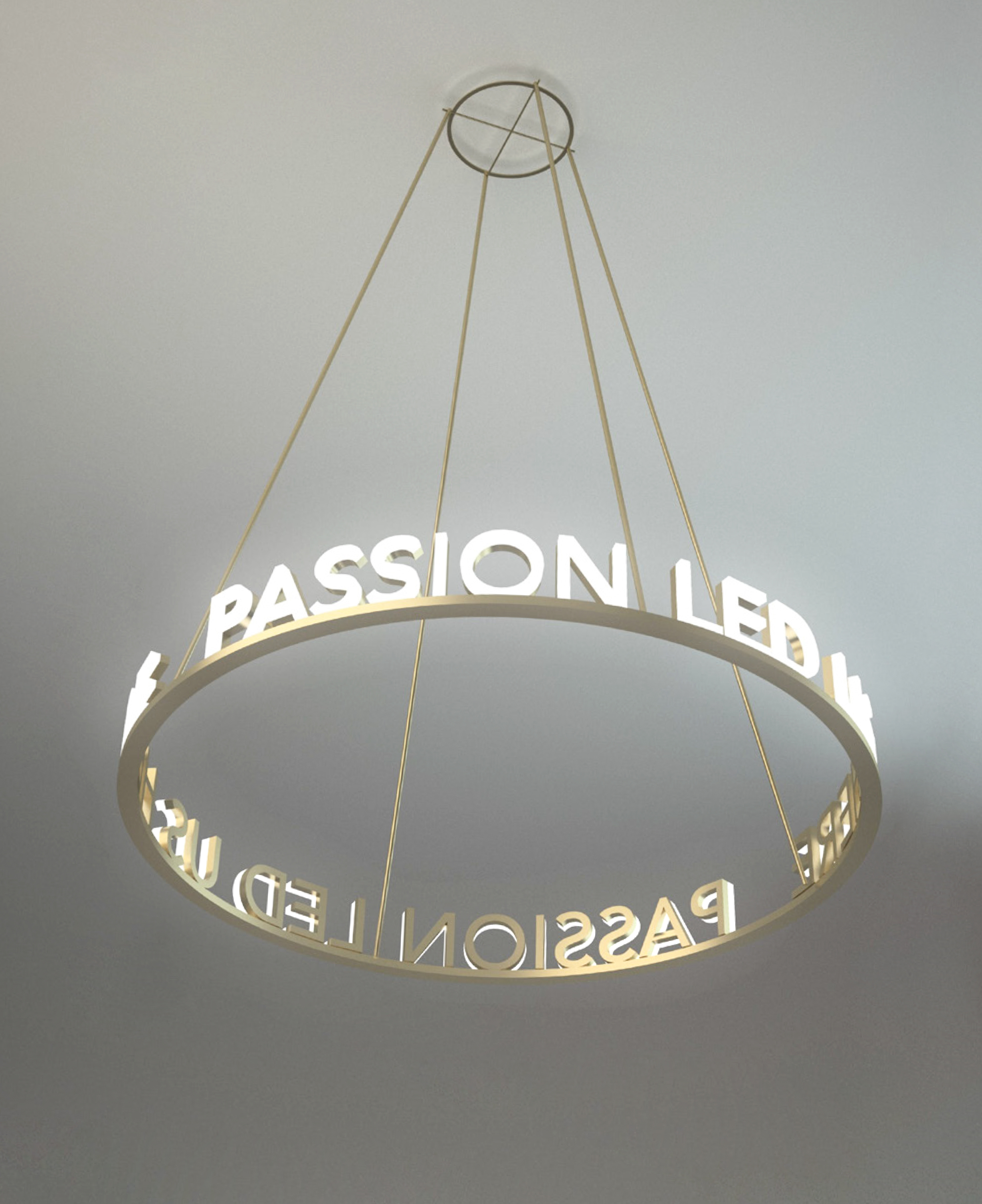 """Integrating types, """" PASSION LED US HERE """" to the pendant light"""