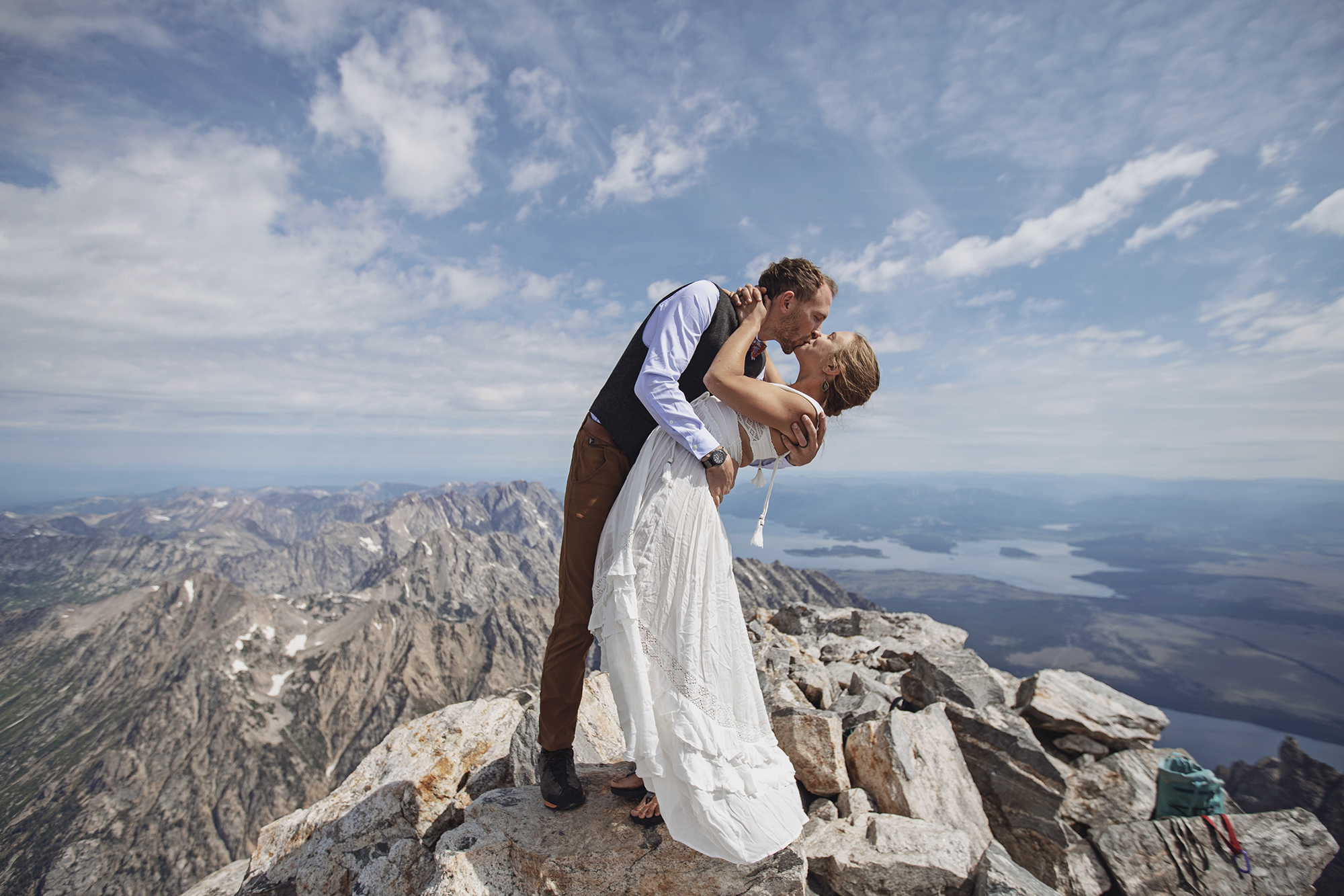 Liz and Collin, the summit of the Grand Teton, Jackson Hole, Wyoming.