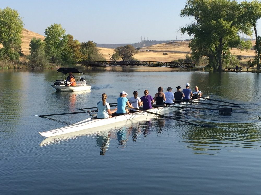 Feather River Rowing Club (Women's Master pictured) is one of the many activities found on the Forebay.