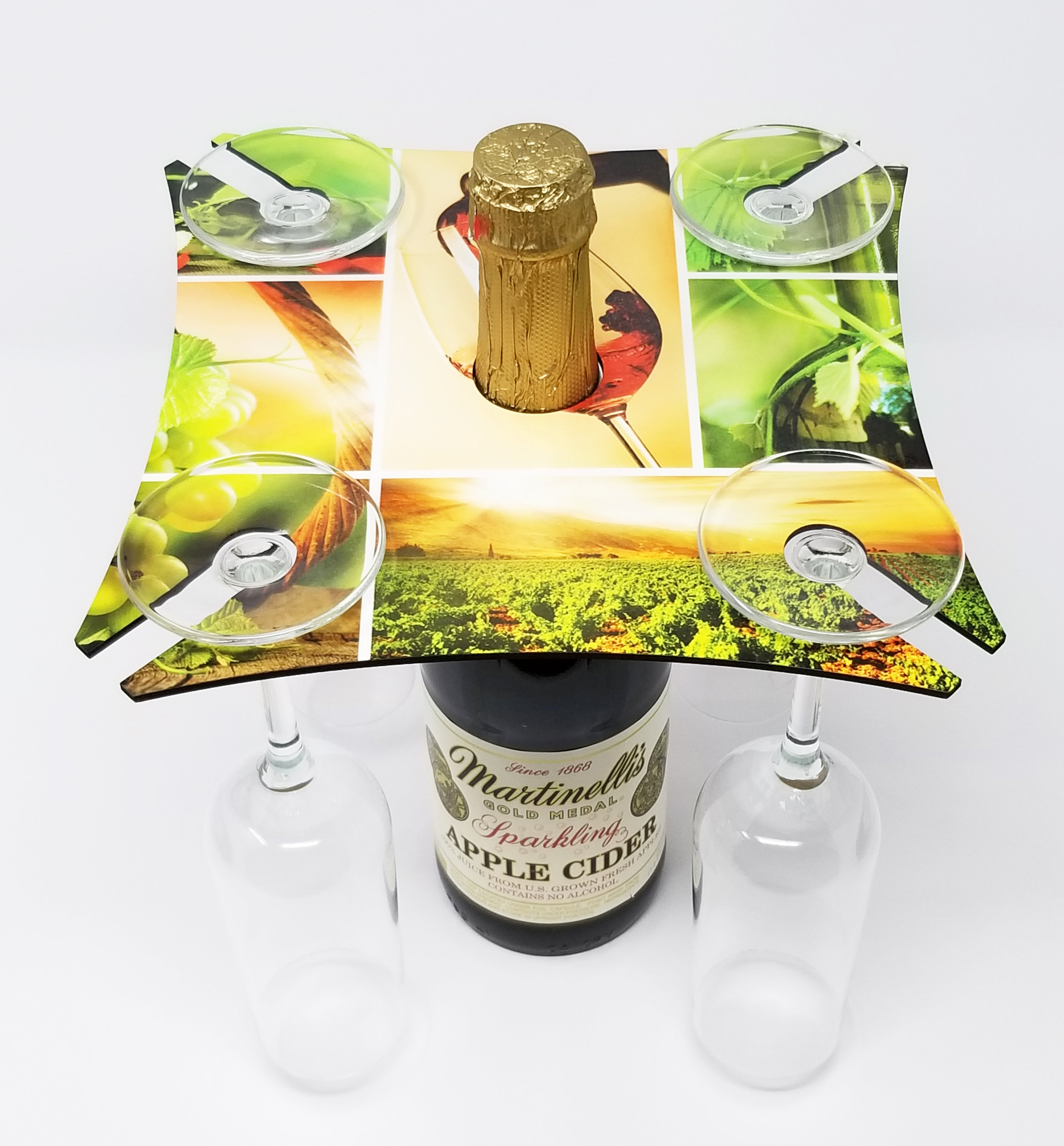 "Large SQUARE CADDIE. Hardboard tray with hole for the wine bottle and slots for the glasses. 1-sided. 5.25""x 9.5"" x.25"" tray. Clever little tray enables a great presentation for restaurants or attractive side board displays. A great gift item. $18.00."