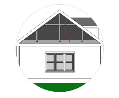 "Step 2:   The power is then transferred down through your attic using our durable interconnect cabling. A small ¼"" diameter hole is all that's needed in the roof."