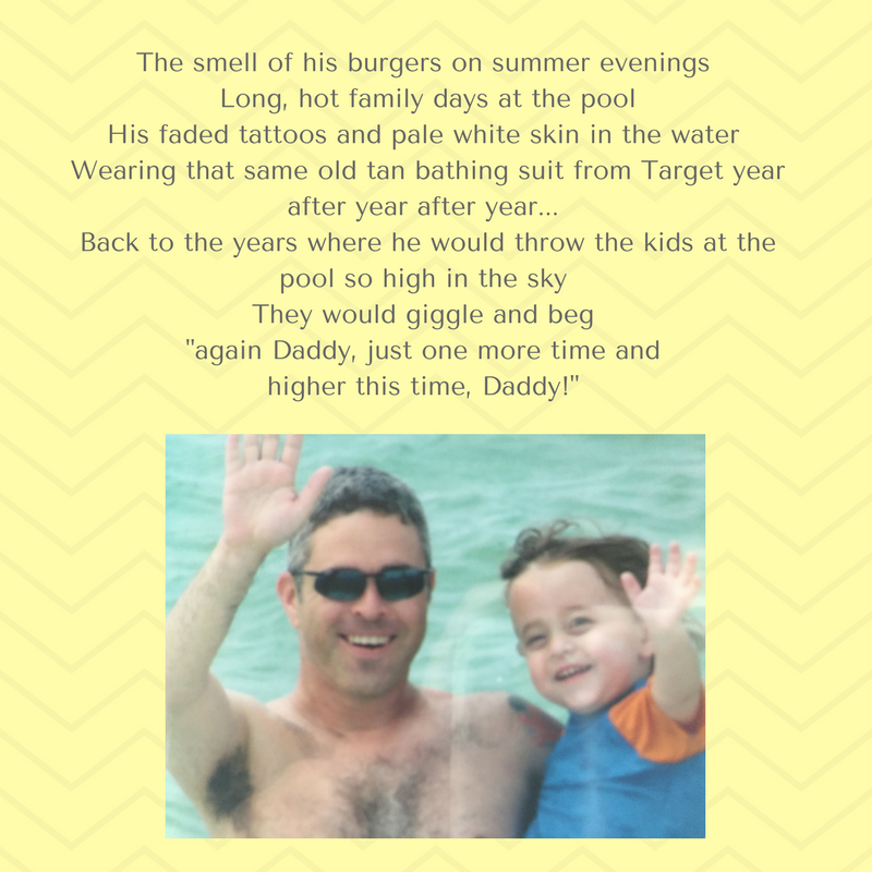 Craving burgers he proudly grilled on summer evenings And long, hot family days at the pool I saw his faded tattoos and pale white skin in the water Wearing that same old bathing suit from Target year after year afte.png