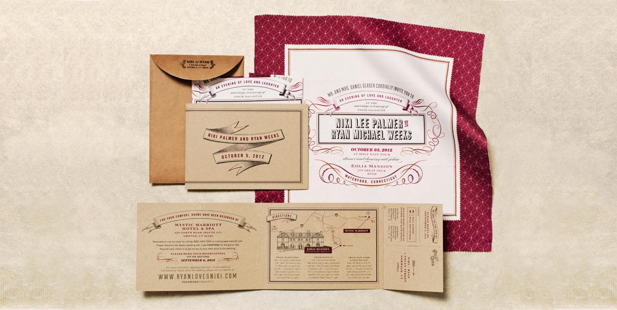 Wedding Invitation - Vintage Handkerchief