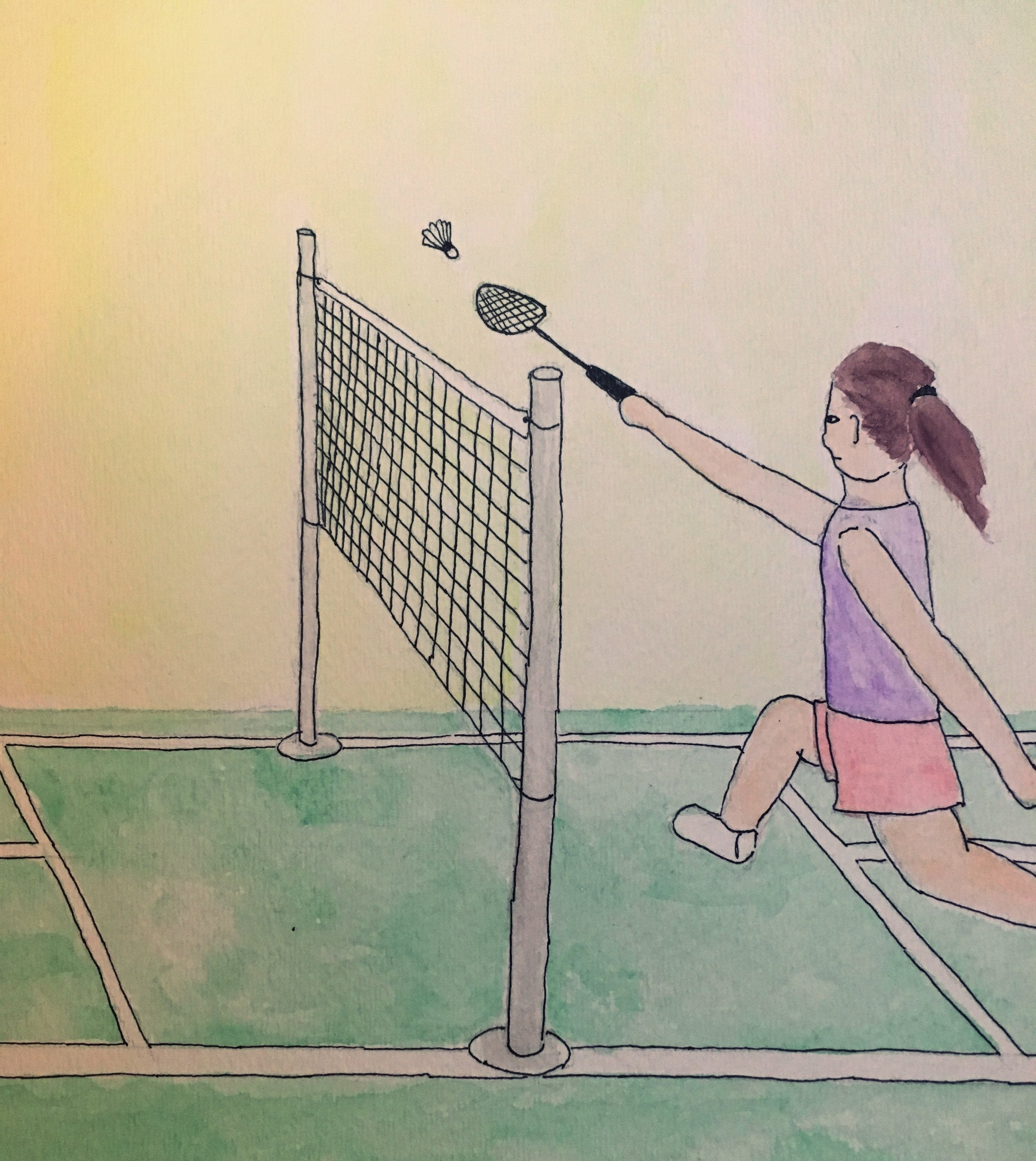 Attempting to play badminton