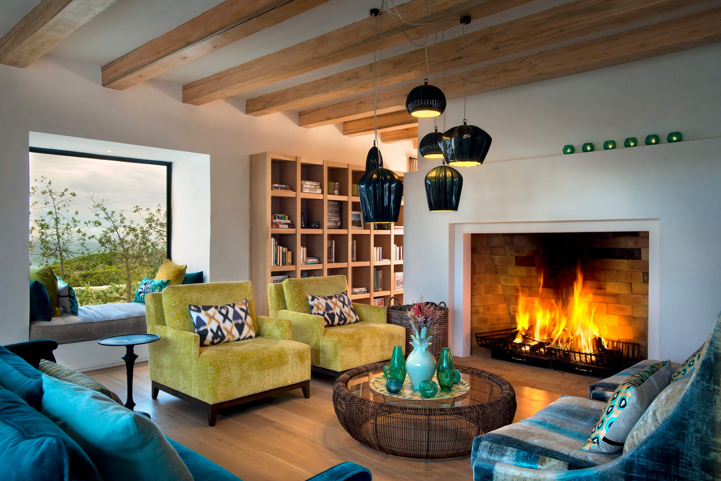 Morukuru Ocean House - lounge with fireplace.JPG