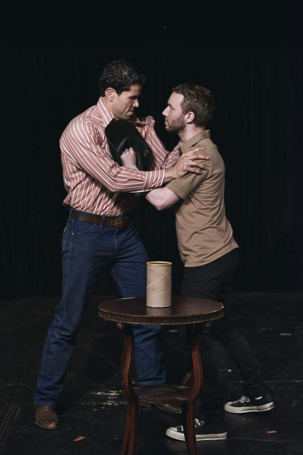 Stephen Felix and Calvin Knie.  This moment became one of the indelible images of our play.  Photo by  Niki Asti .