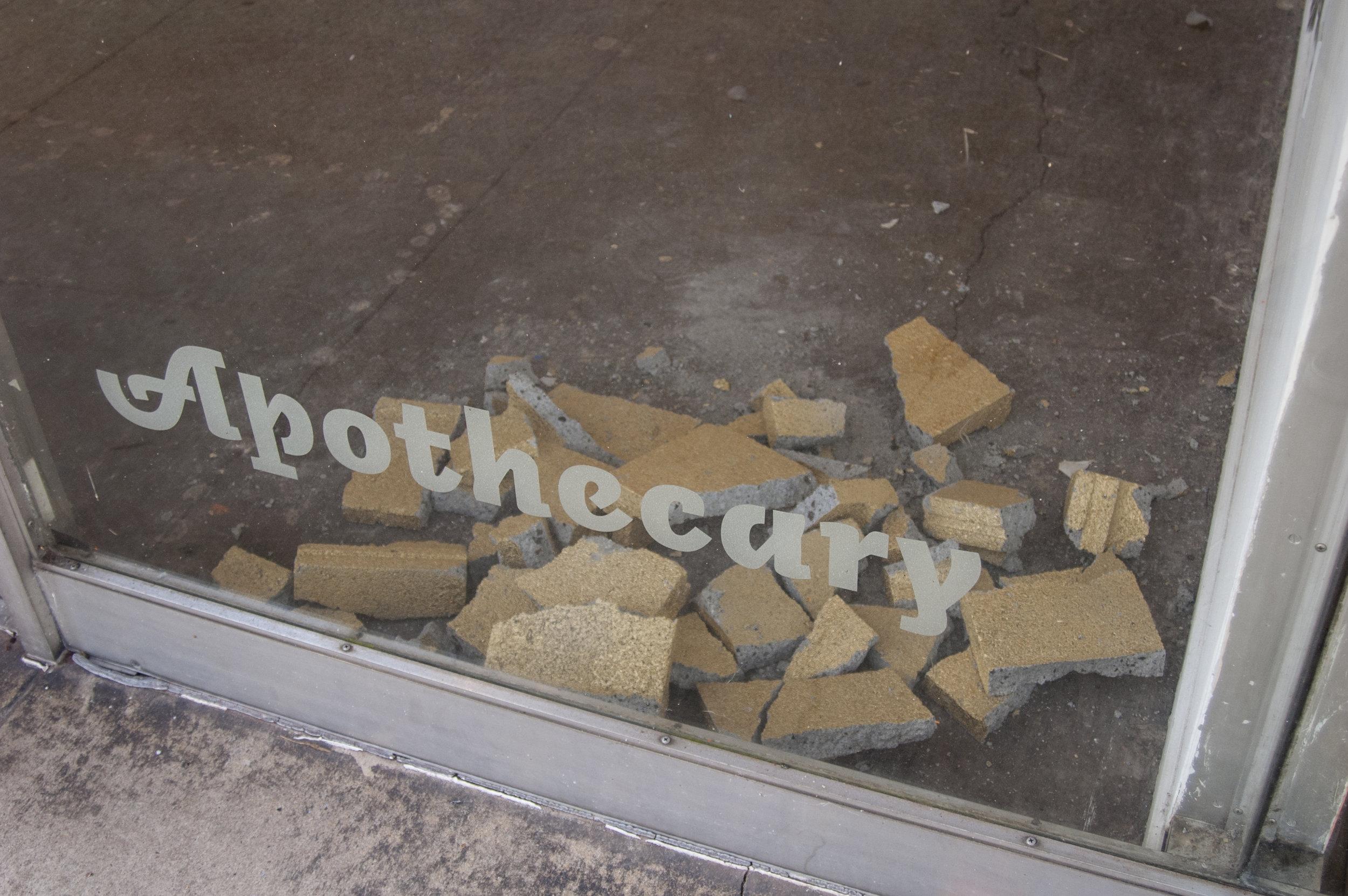 Fools, Gold , spray paint on cinder blocks