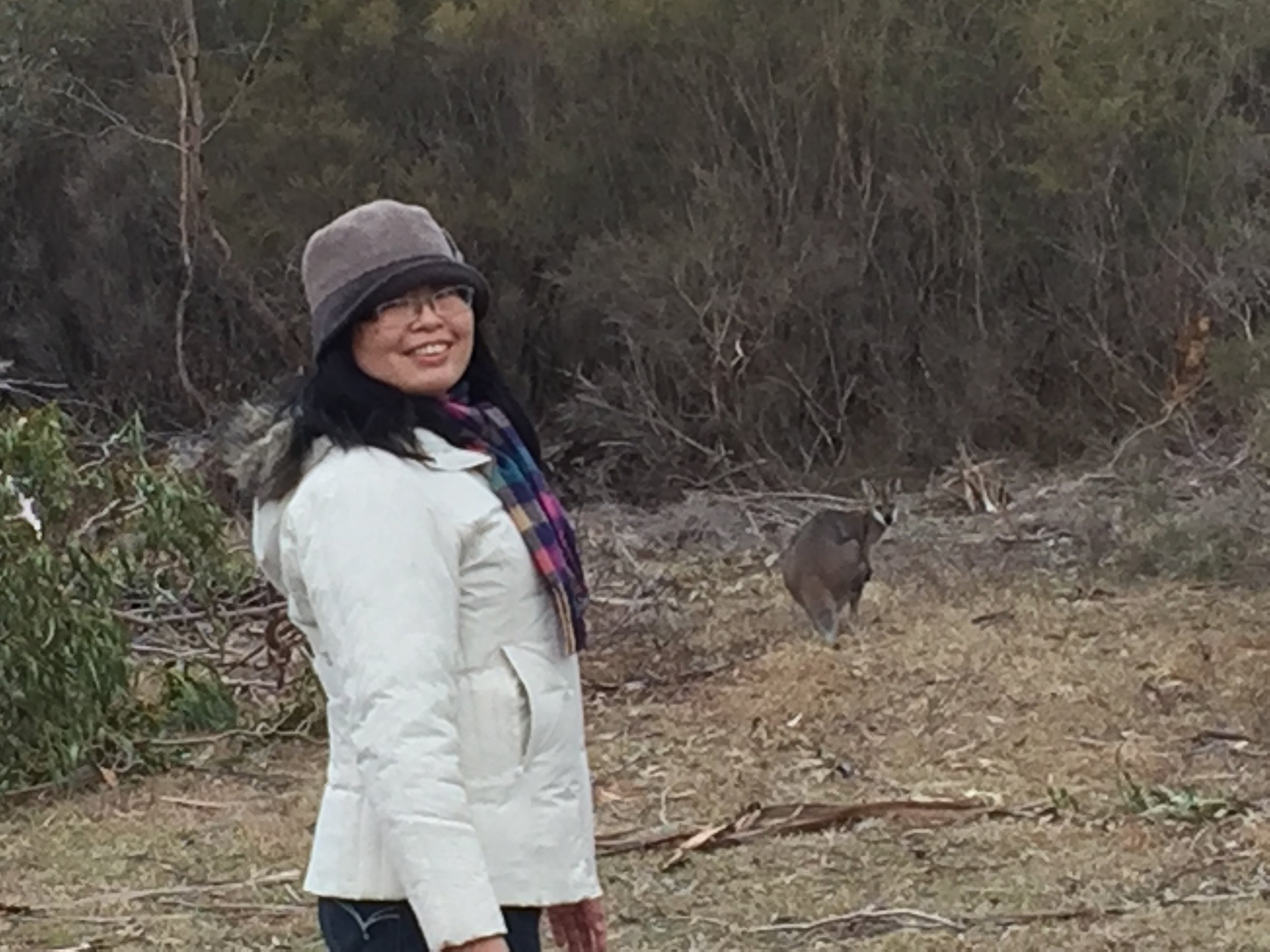 Su Lin from Formosa delights in seeing her first wallaby..
