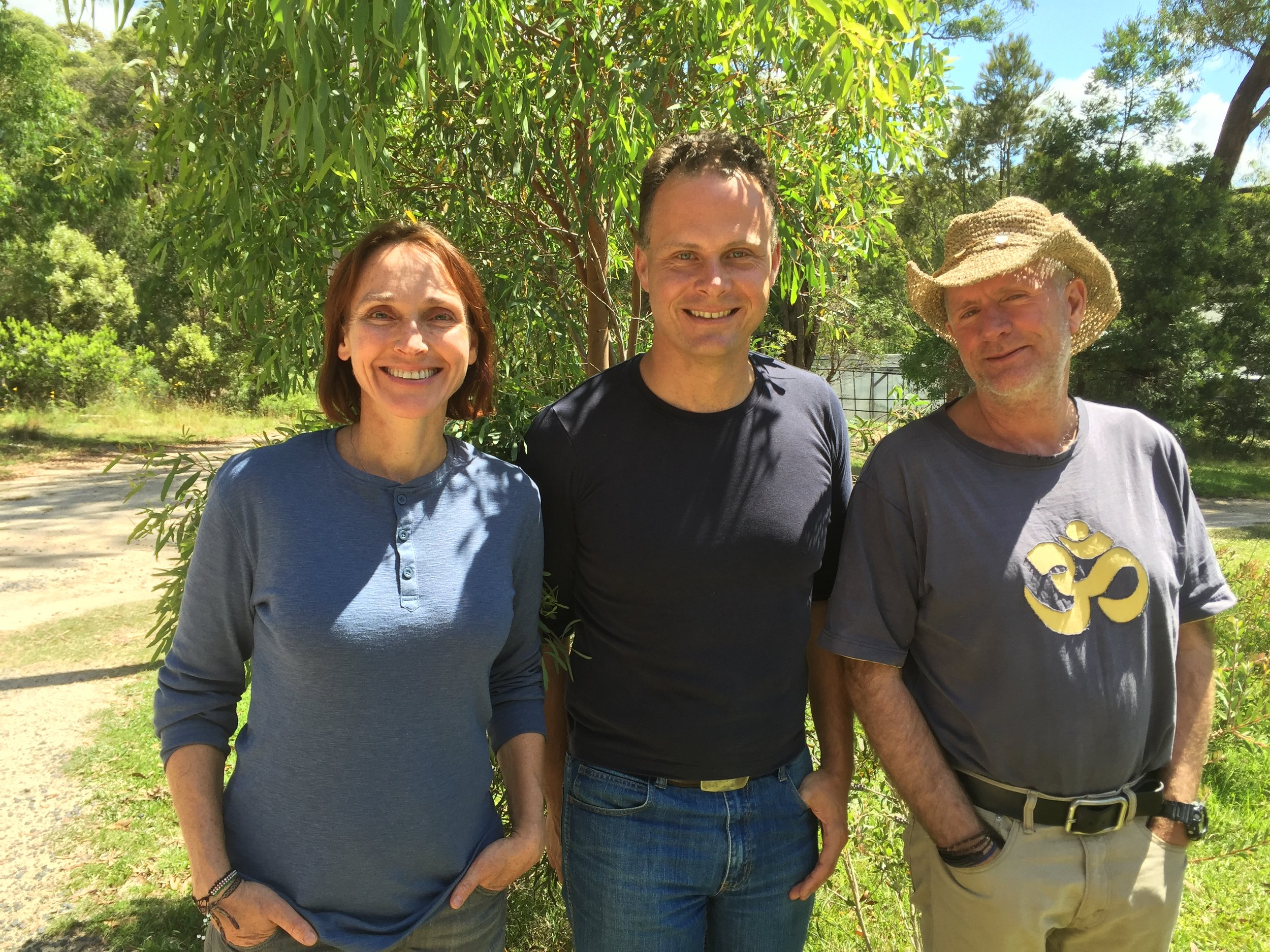 New England Greens candidate Mercurius Goldstein with friends at the sanctuary.