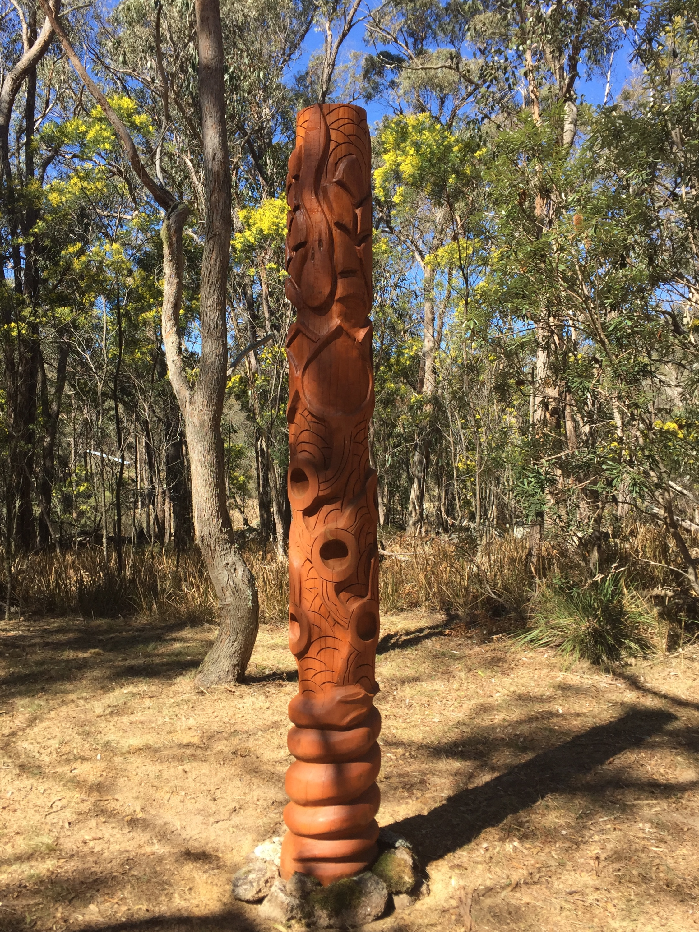 A close up of Russell's totem: come in the early morning, or any time, its beautiful  to meditate here...especially when the wattle is in flower.