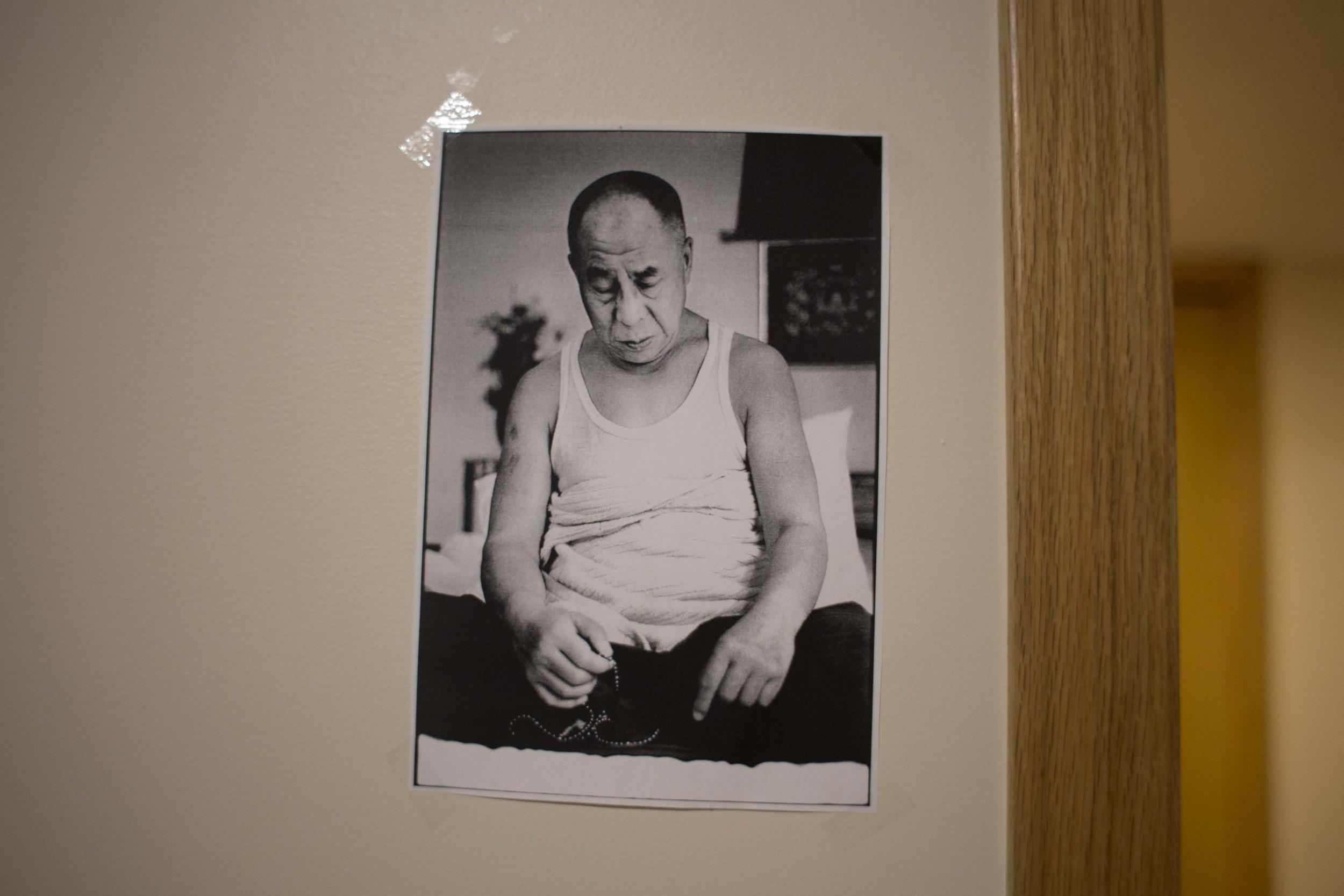 Buddhist image on bedroom wall