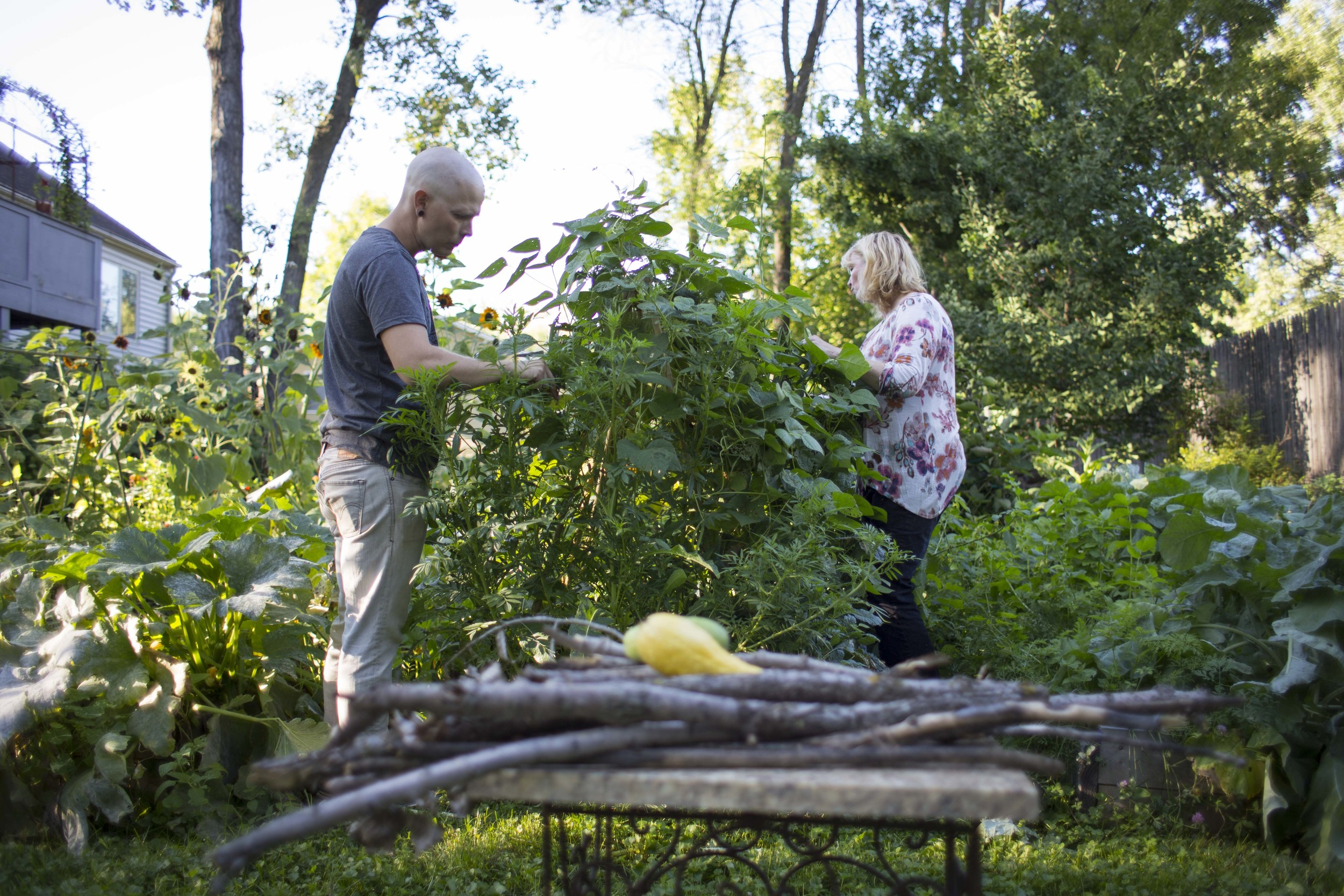 Nate and Jessica in the garden