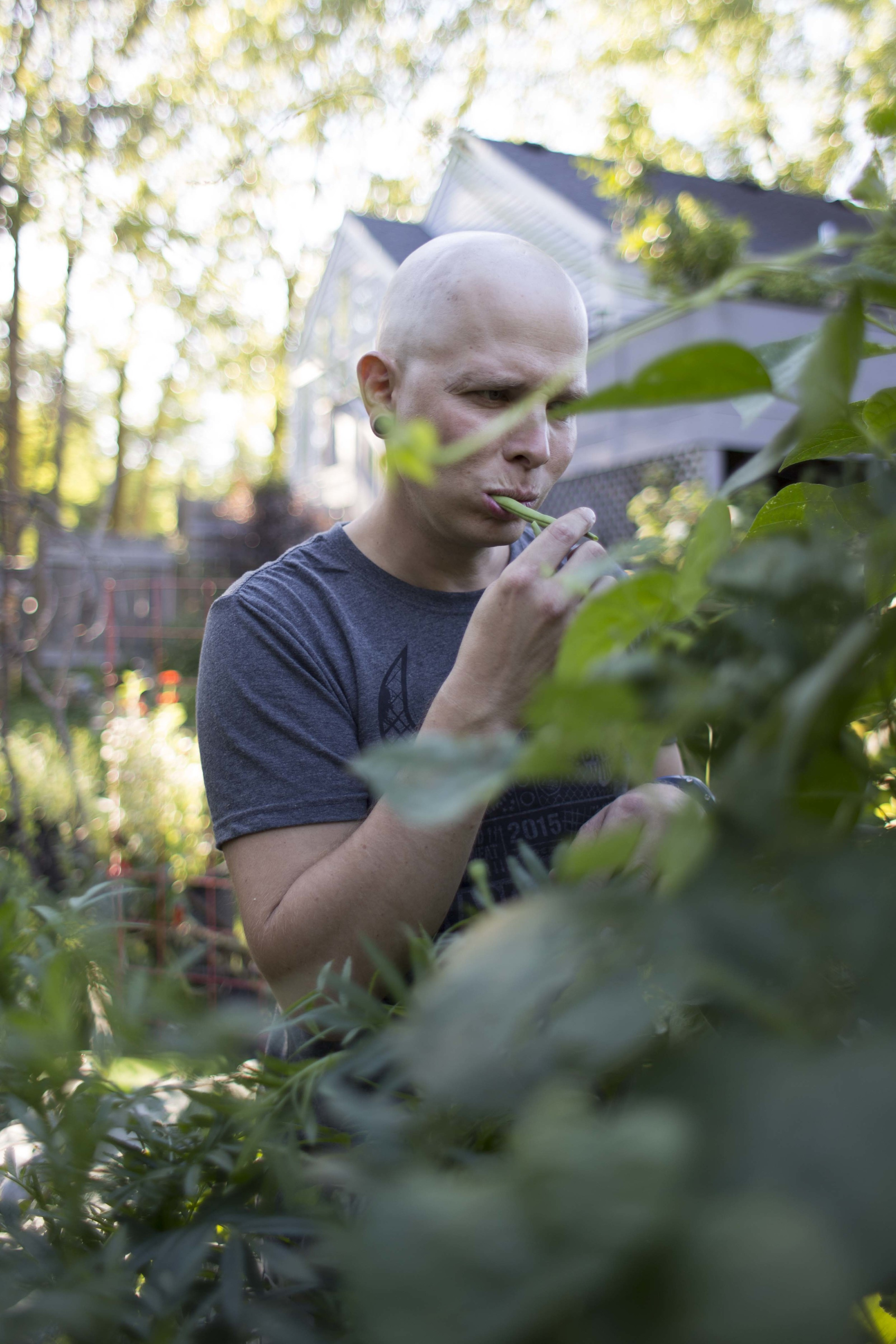 Nate chomps on a snap pea from the garden