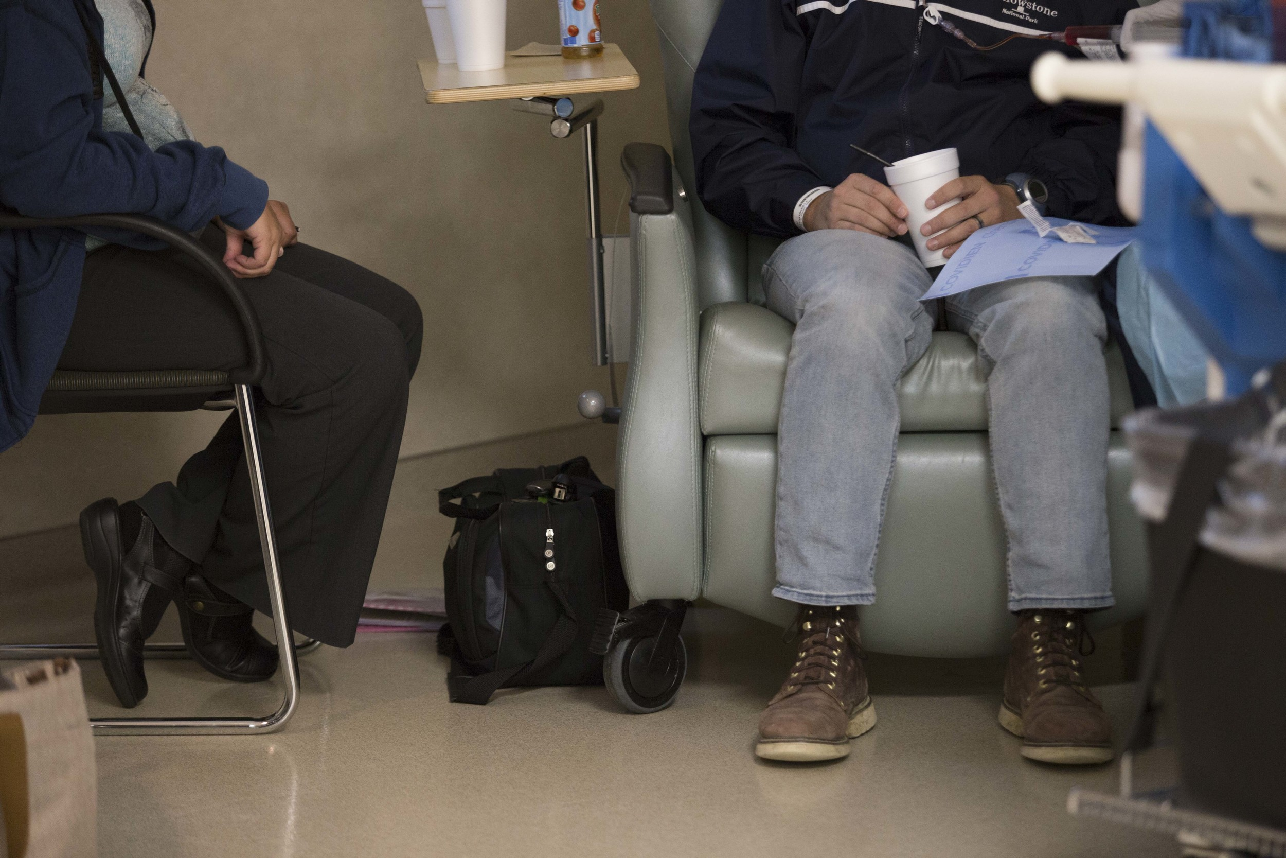 Sarah and Nate in the chemotherapy treatment center