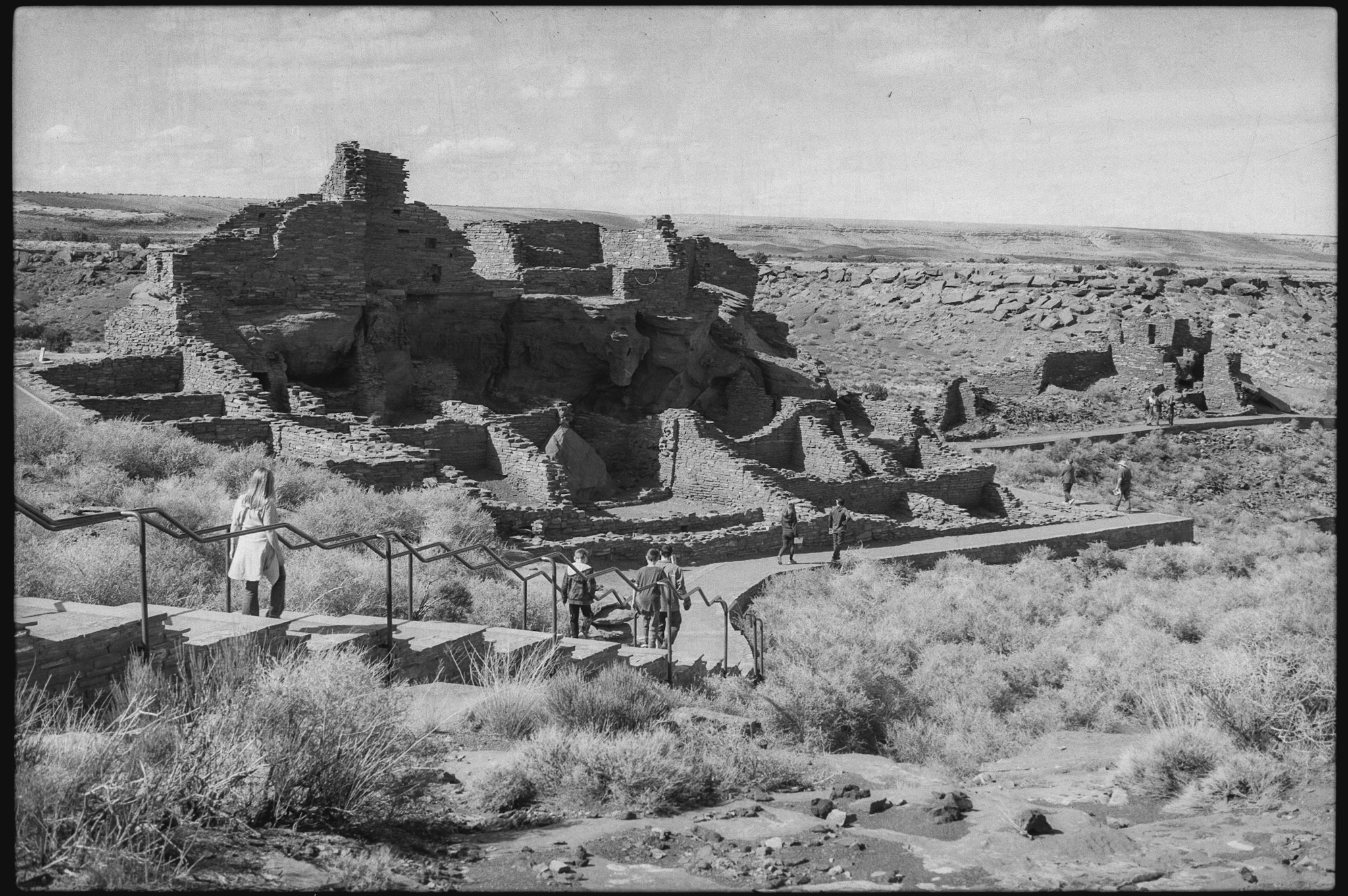 A broad view of the pueblos at Wupatki National Monument, Coconino County, Arizona