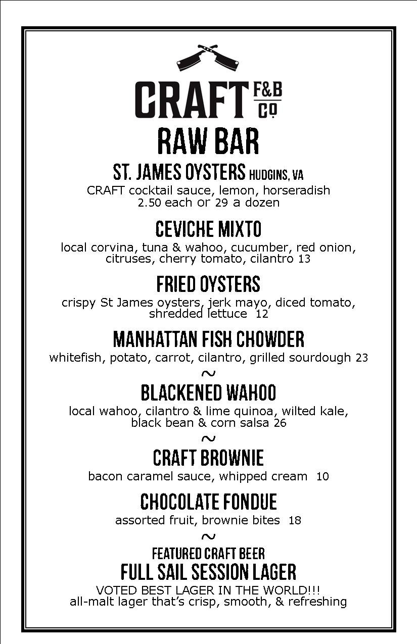 Craft F&B Co. - sample raw bar menu