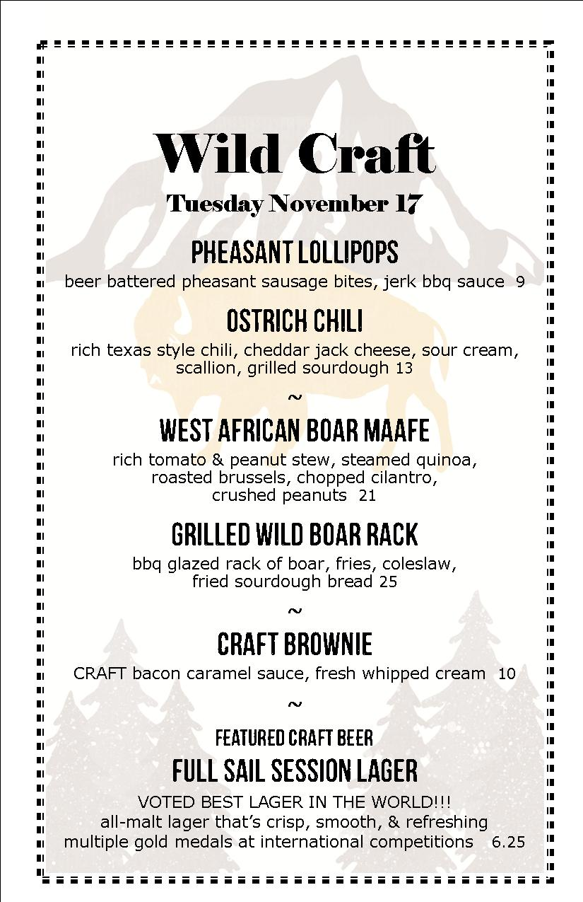 Craft F&B Co. - sample wild game menu