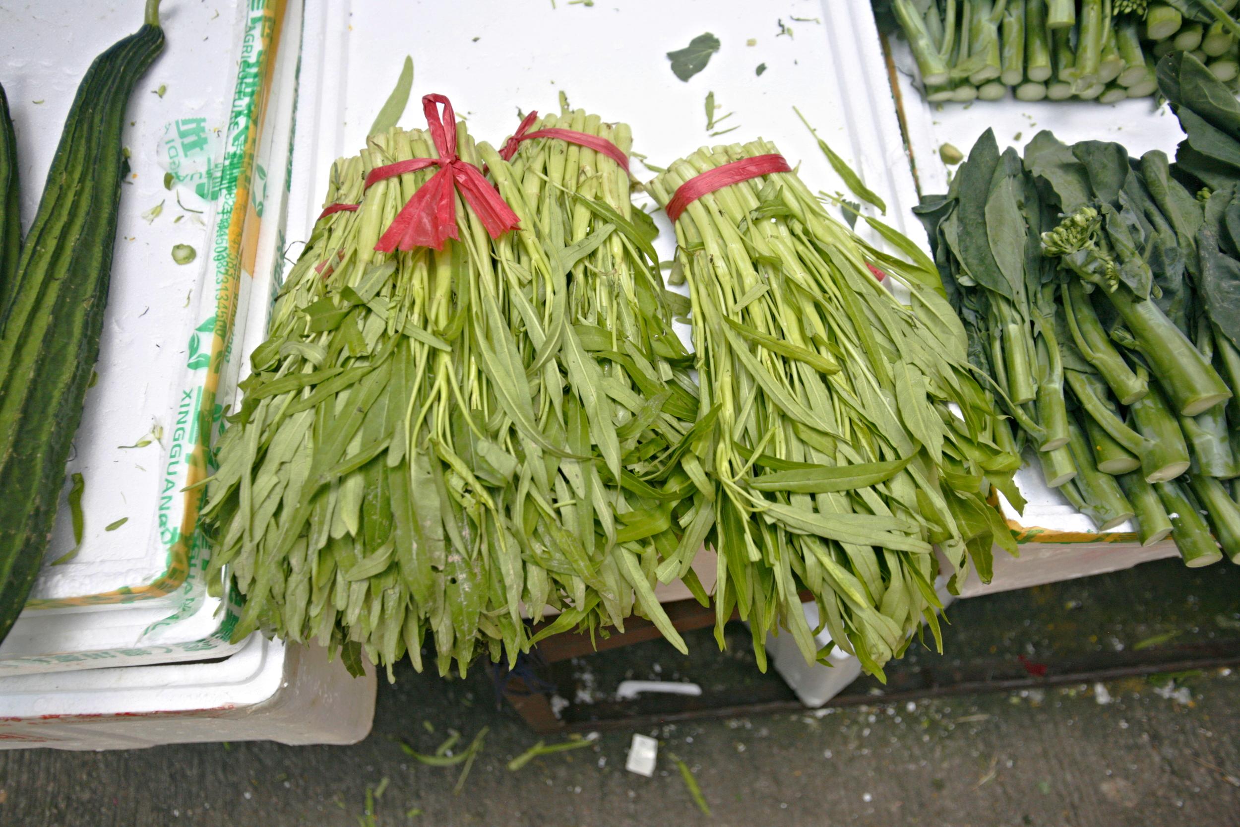 Fresh ong choy at the market