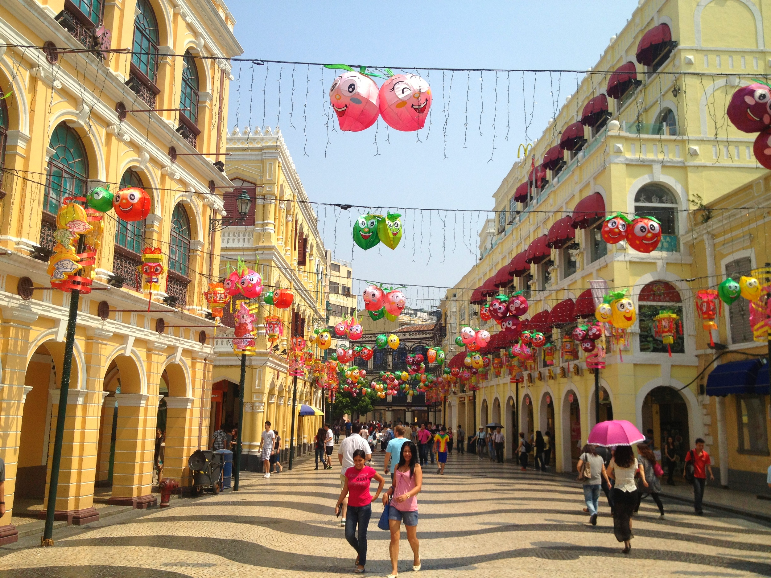 Many streets in central Macau are pedestrian only