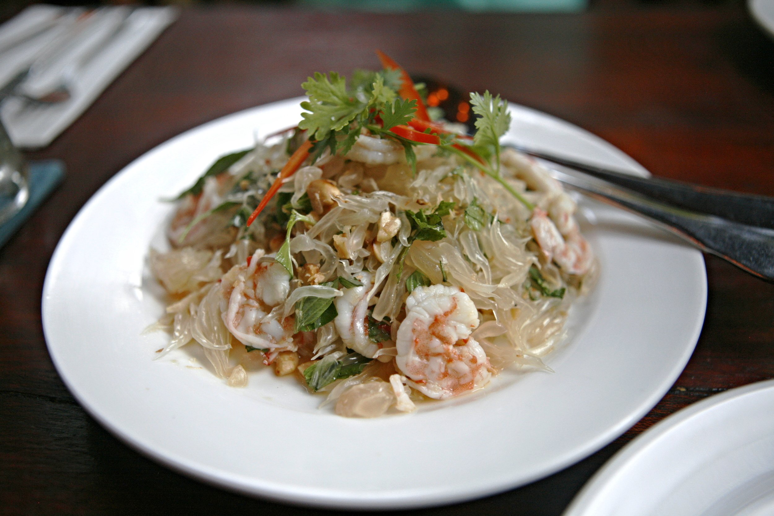 Pomelo salad with poached shrimp