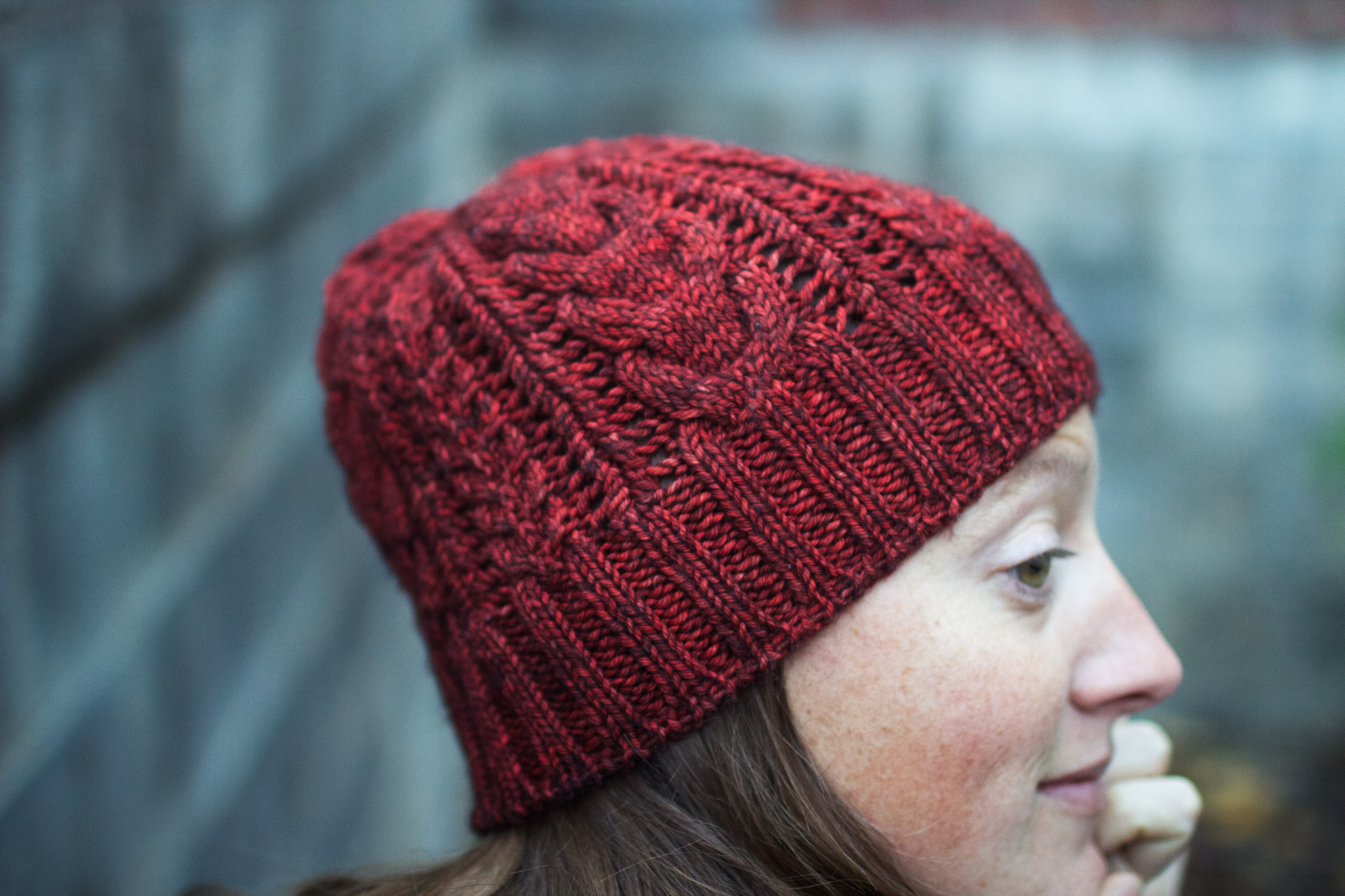 "Hat: ""Bray Cap""  by Jared Flood. Yarn:  Madelinetosh tosh dk in ""Cardinal."""