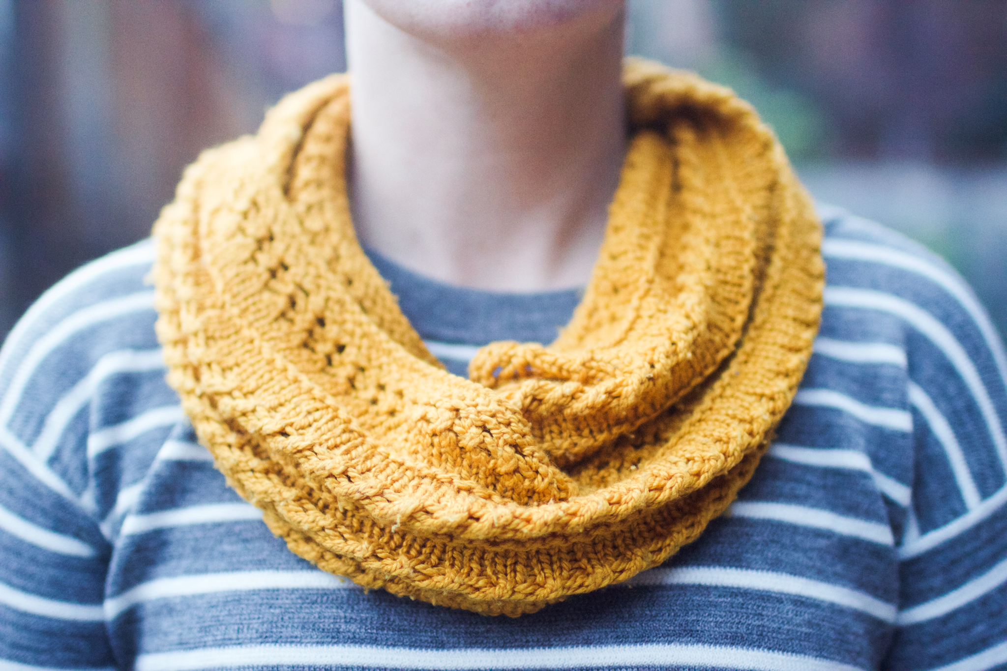"Cowl: ""A Grey Loop"" by  Helen G. Yarn:  Fyberspates Scrumptious 4ply/sport in ""Gold."""