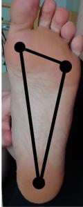 Tripod: Big toe knuckle, pinky toe knuckle & center of the heel.