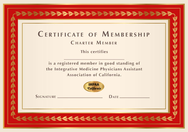 integrative medicine physician assistant association of california, certificate of membership.
