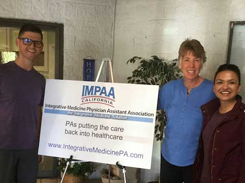 September, 2018, graduating attendees of IMPAA Integrative Medicine & Practice Building Training. from left to right: Justin Anzalone, PA-C; Cathy Ochs, PA-c; Reshma Patel, PA-C.